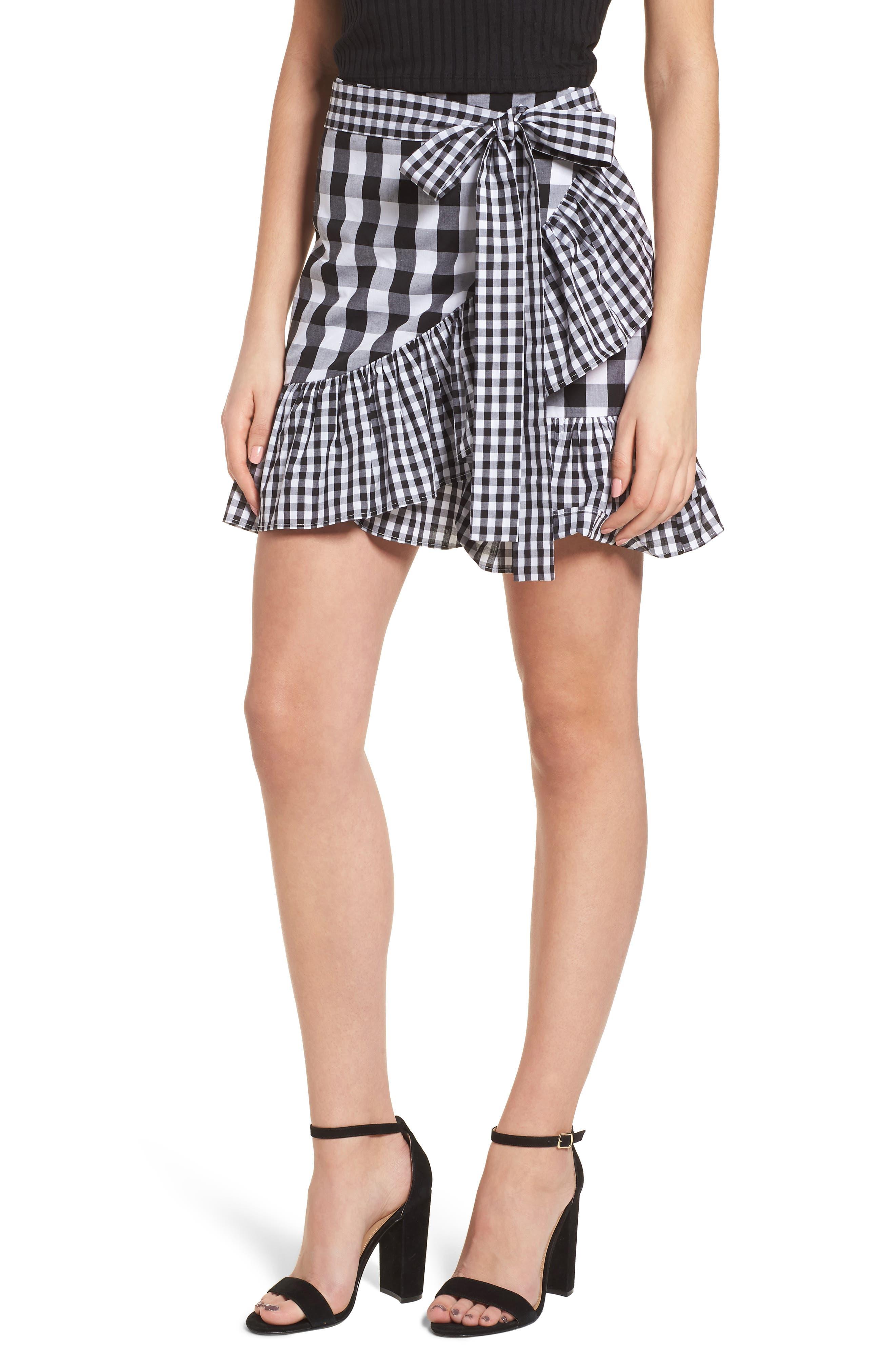 Mixed Check Ruffle Trim Skirt,                             Main thumbnail 1, color,                             001
