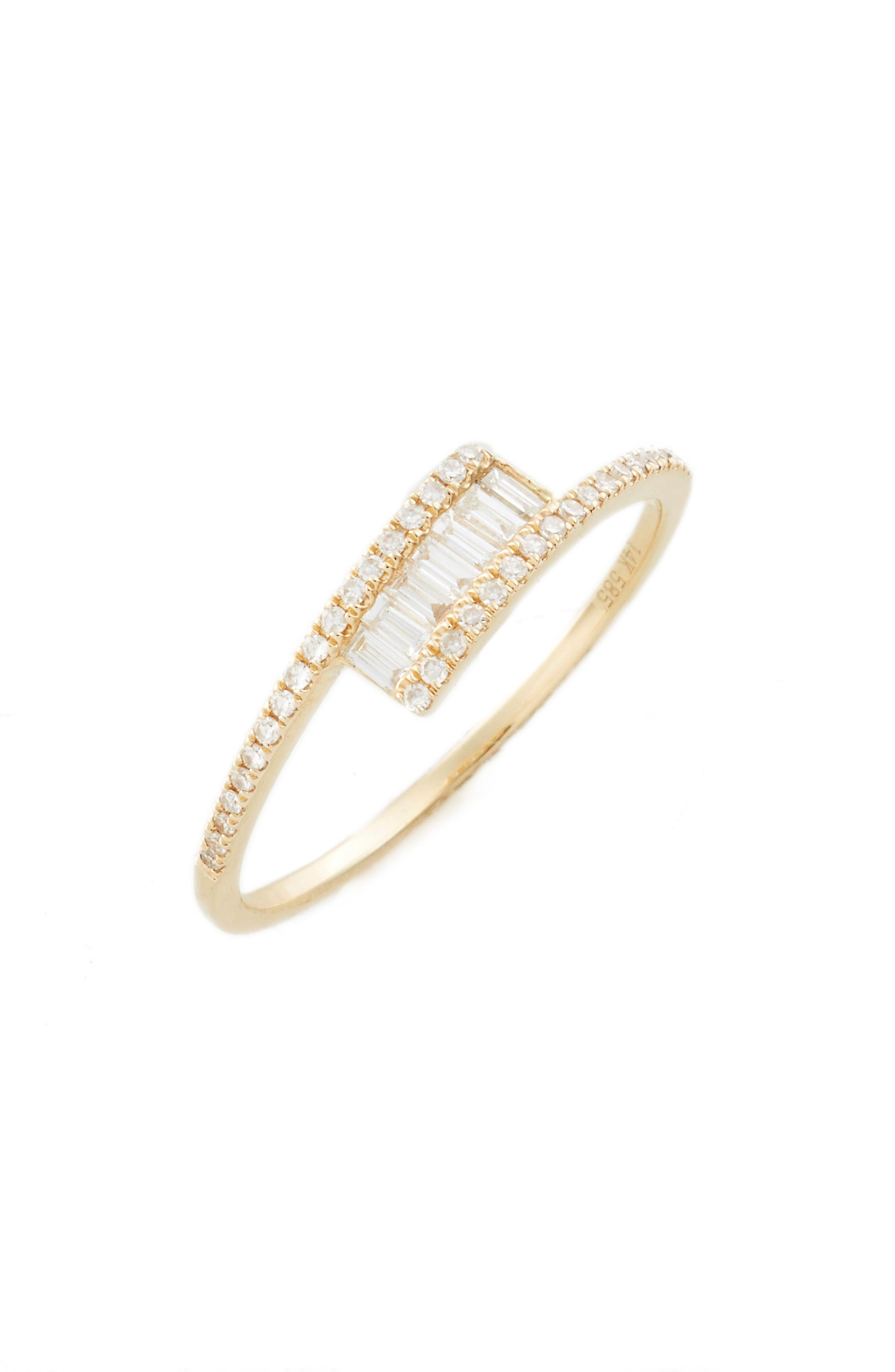 Baguette Diamond Ring,                         Main,                         color, YELLOW GOLD