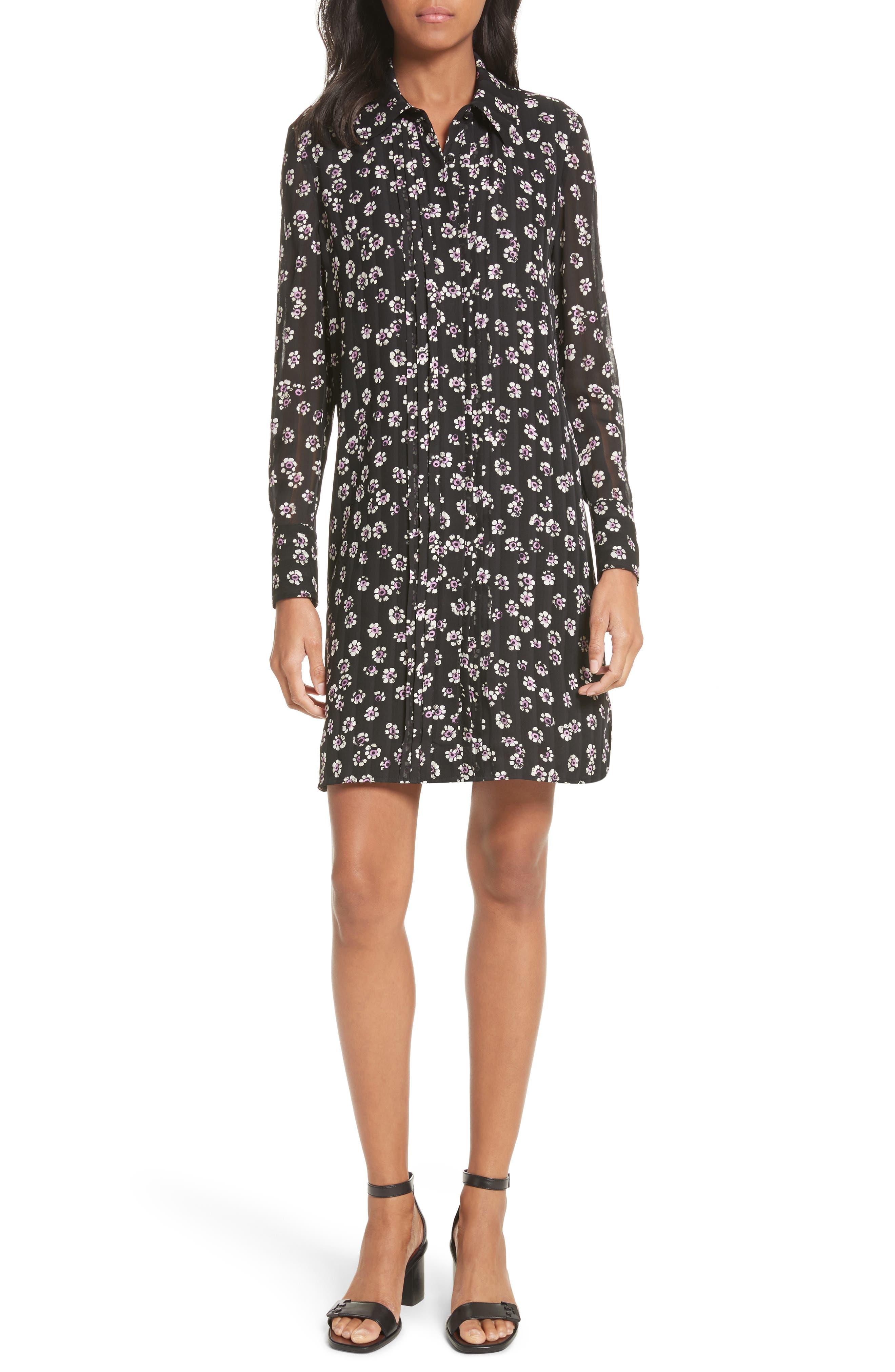 Avery Floral Silk Shirtdress,                         Main,                         color, 016
