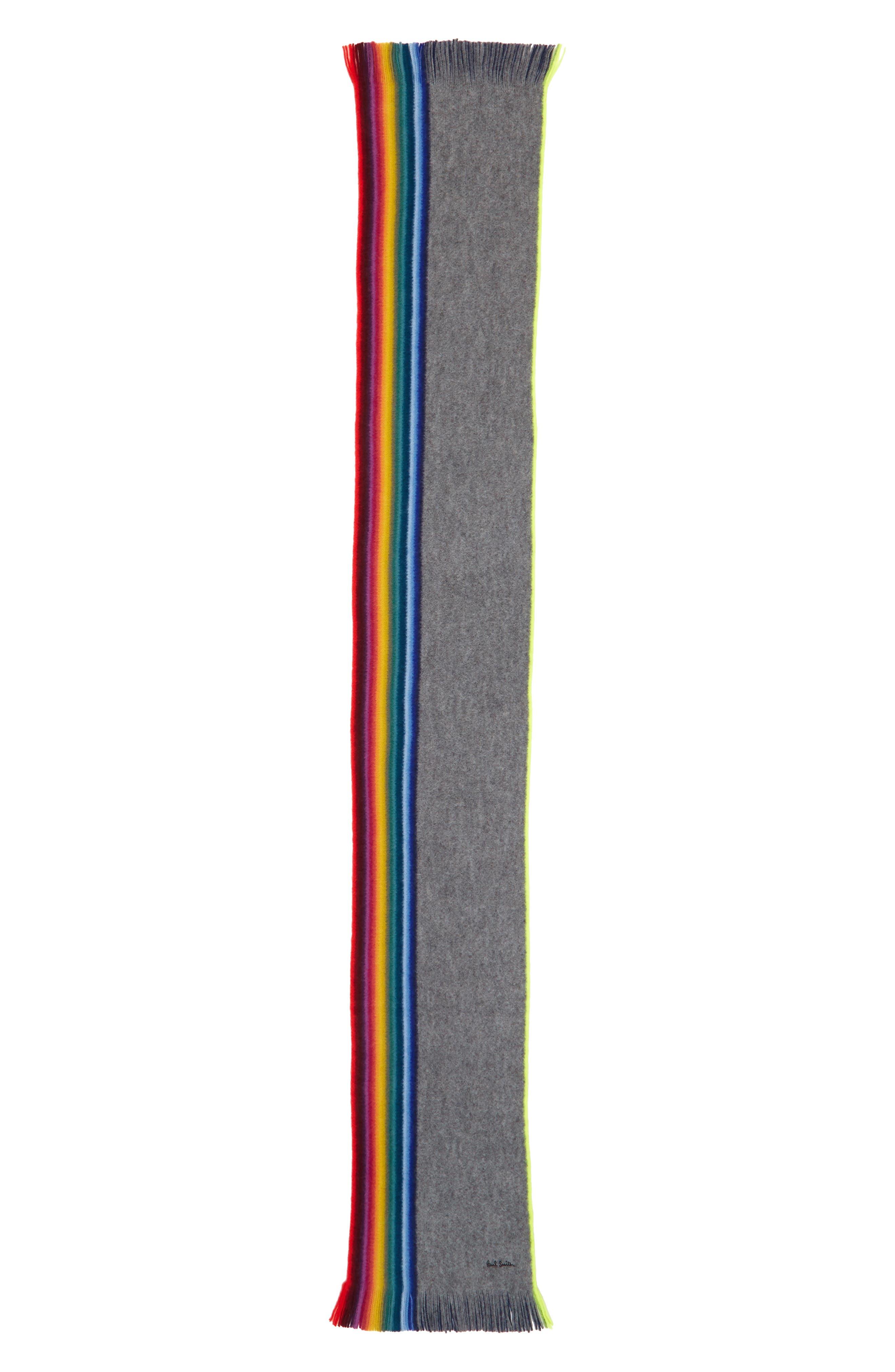 Rainbow Edge Wool Scarf,                             Alternate thumbnail 6, color,