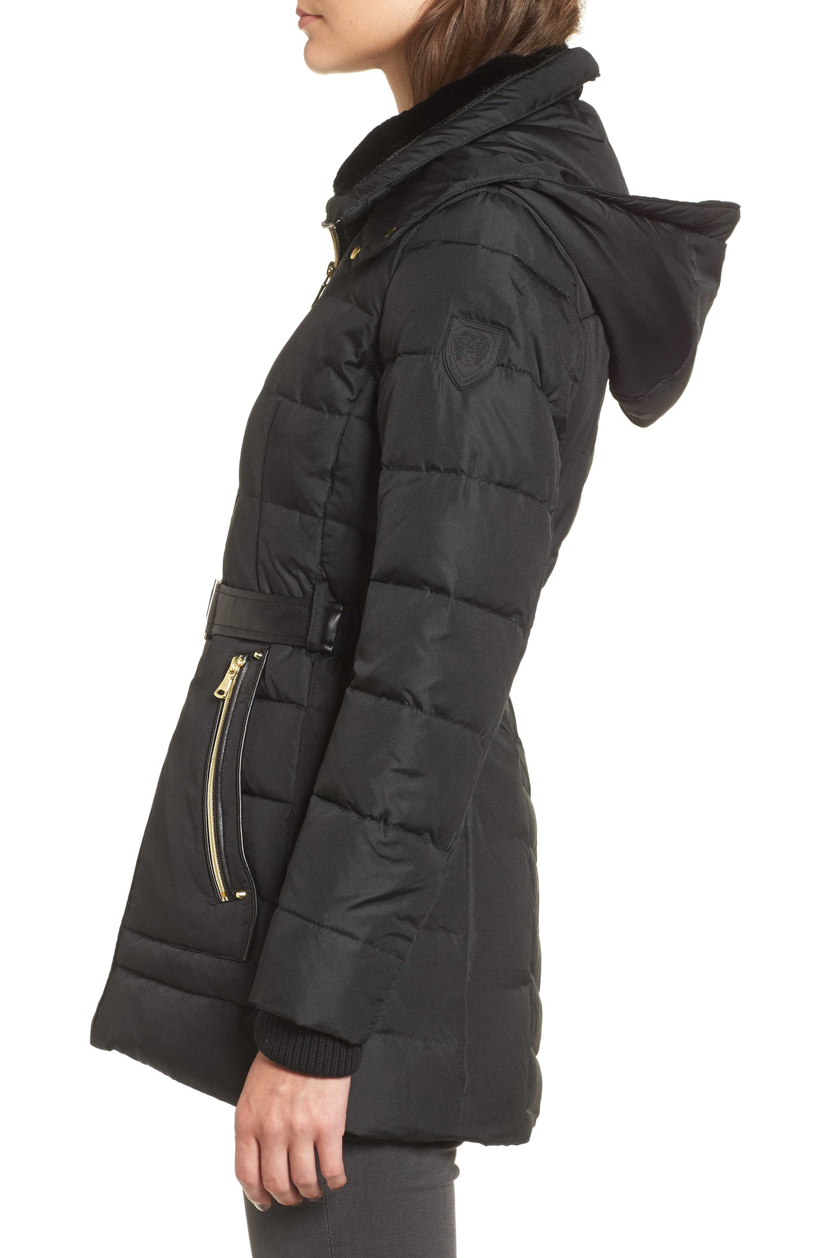 Belted Down & Feather Jacket with Faux Fur,                             Alternate thumbnail 3, color,                             001