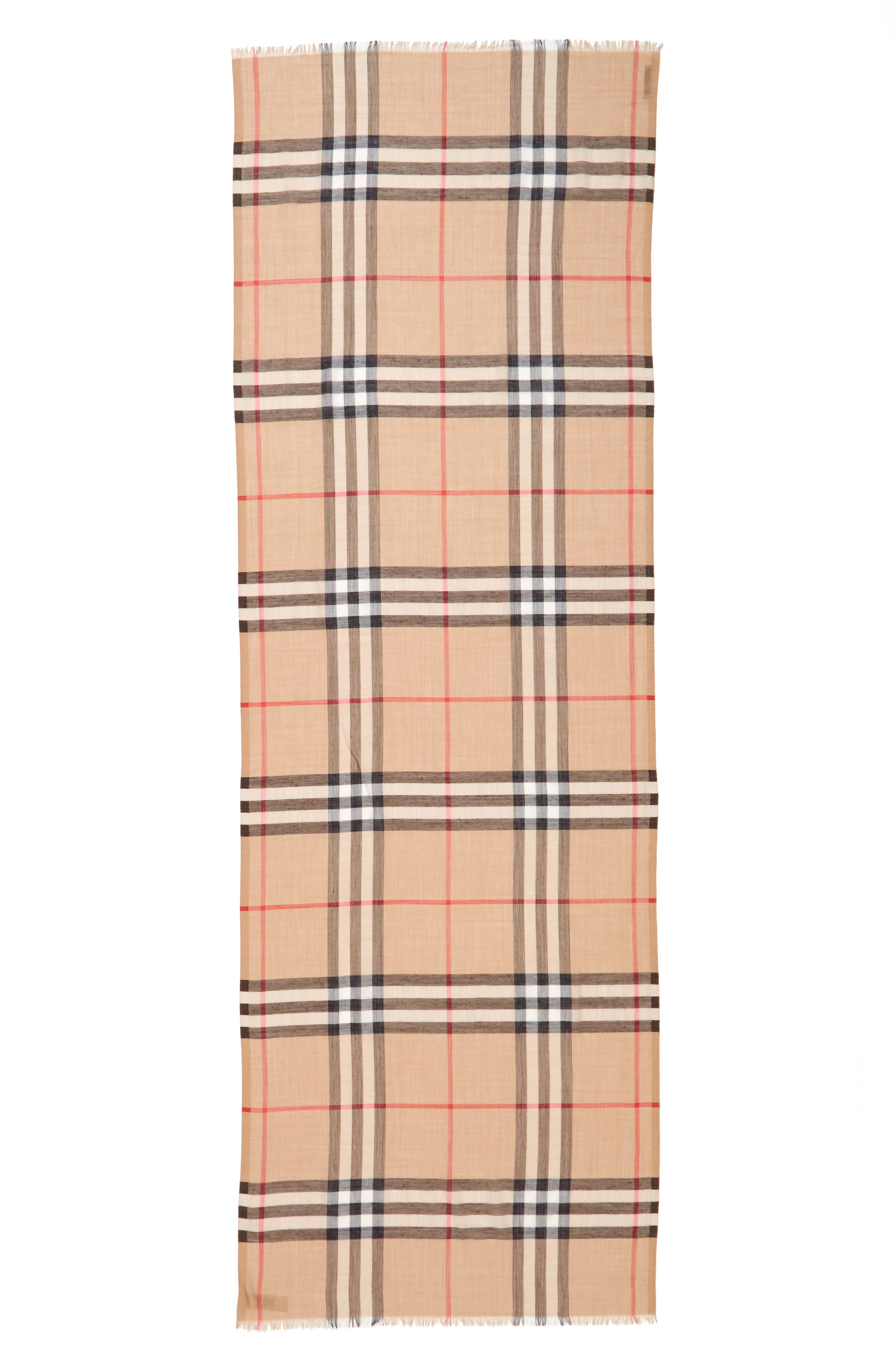 Giant Check Print Wool & Silk Scarf,                             Alternate thumbnail 126, color,