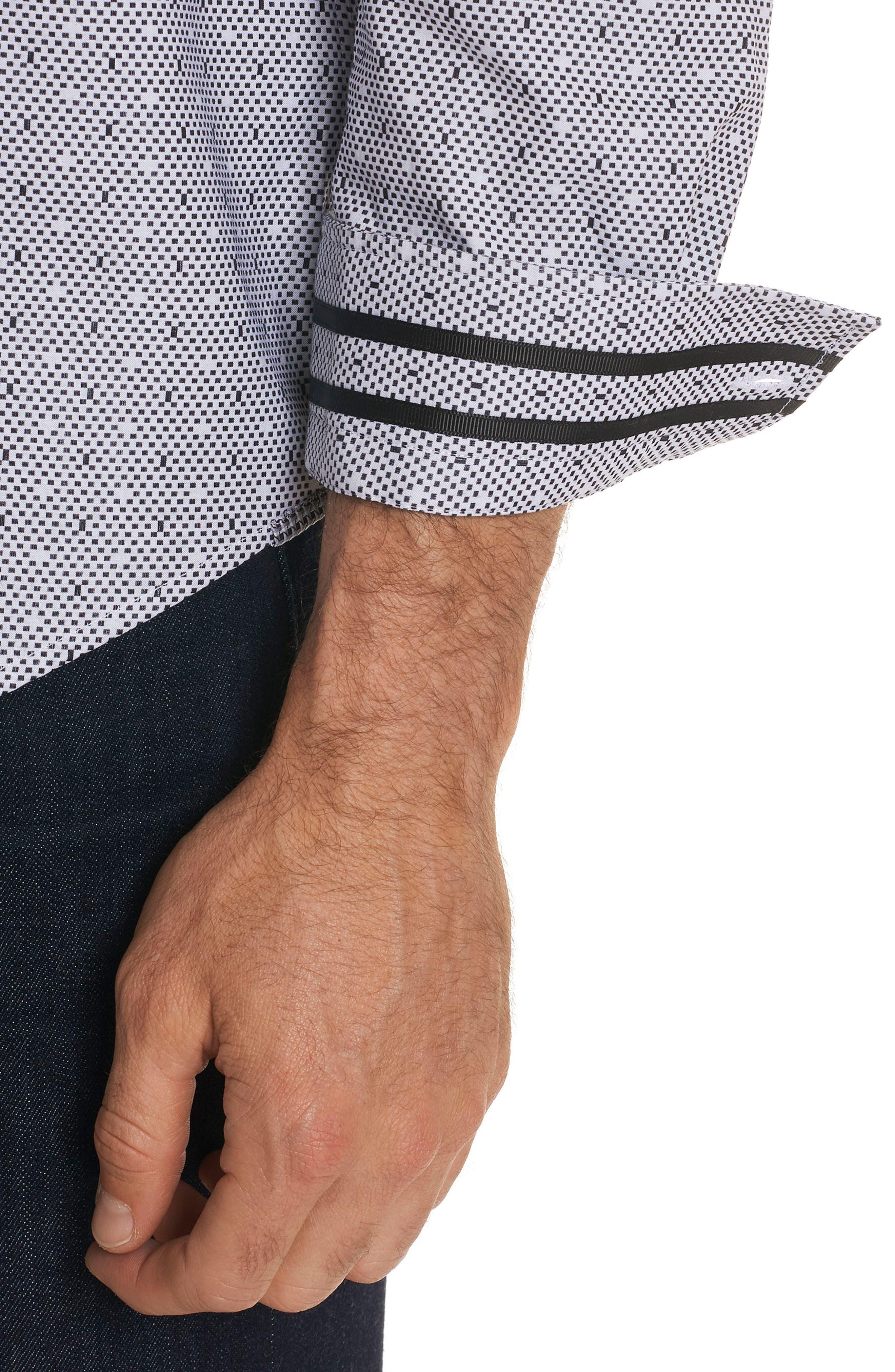 Miles Regular Fit Dot Sport Shirt,                             Alternate thumbnail 3, color,                             001