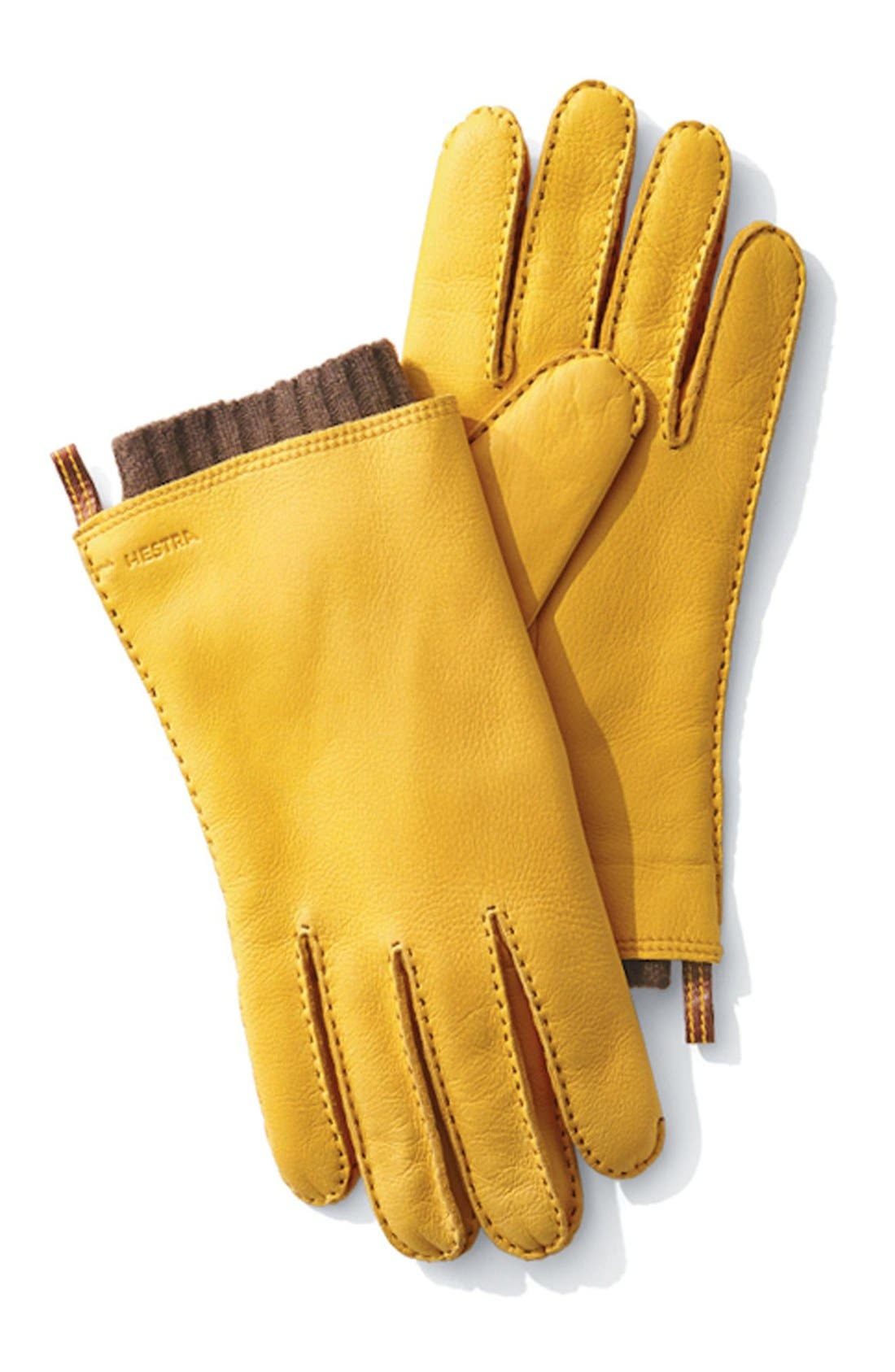 'Tor' Leather Gloves,                             Alternate thumbnail 4, color,                             DARK FOREST/ NATURAL YELLOW
