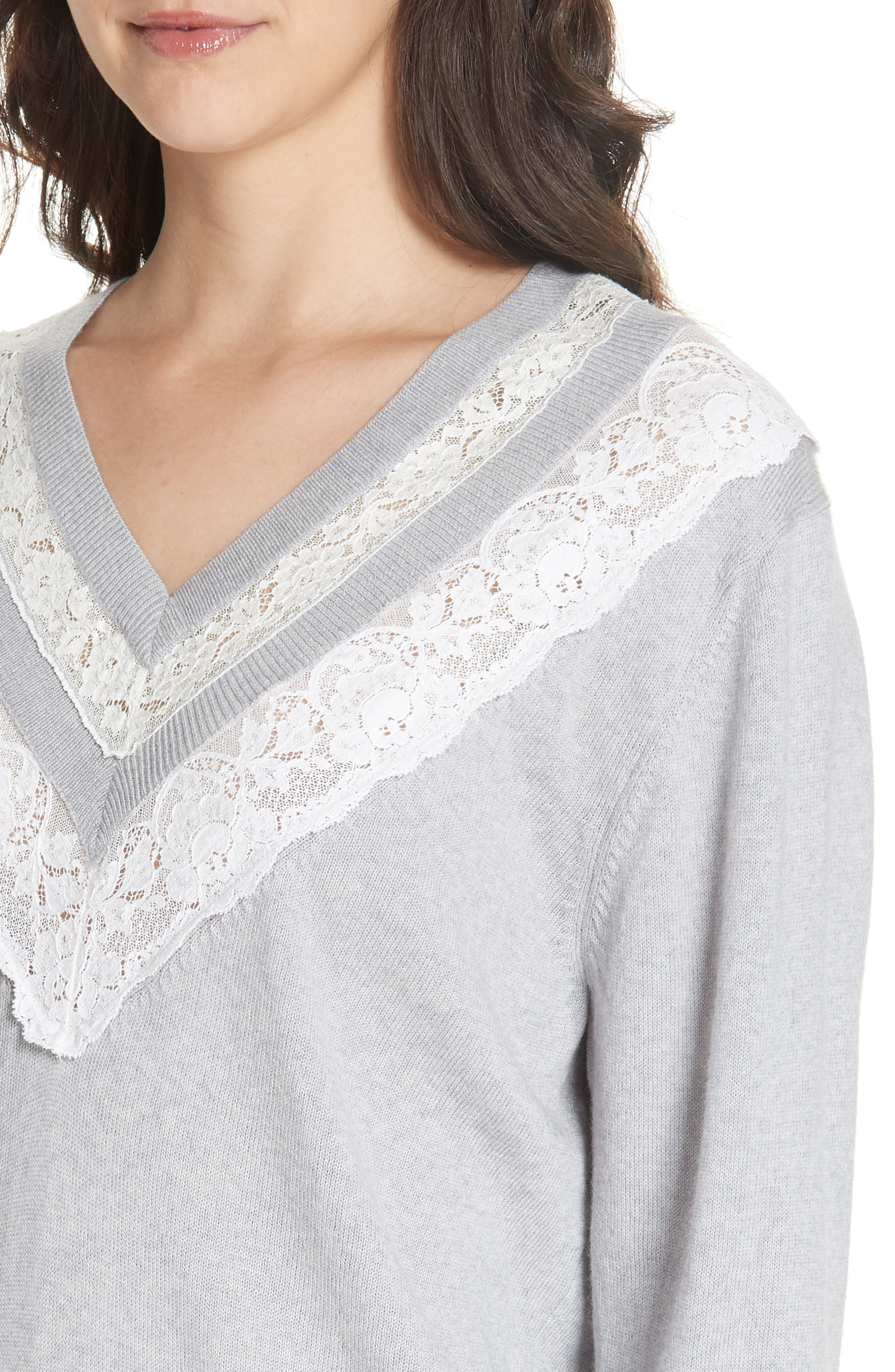 Lace Trim Merino Wool Sweater,                             Alternate thumbnail 4, color,                             GREY