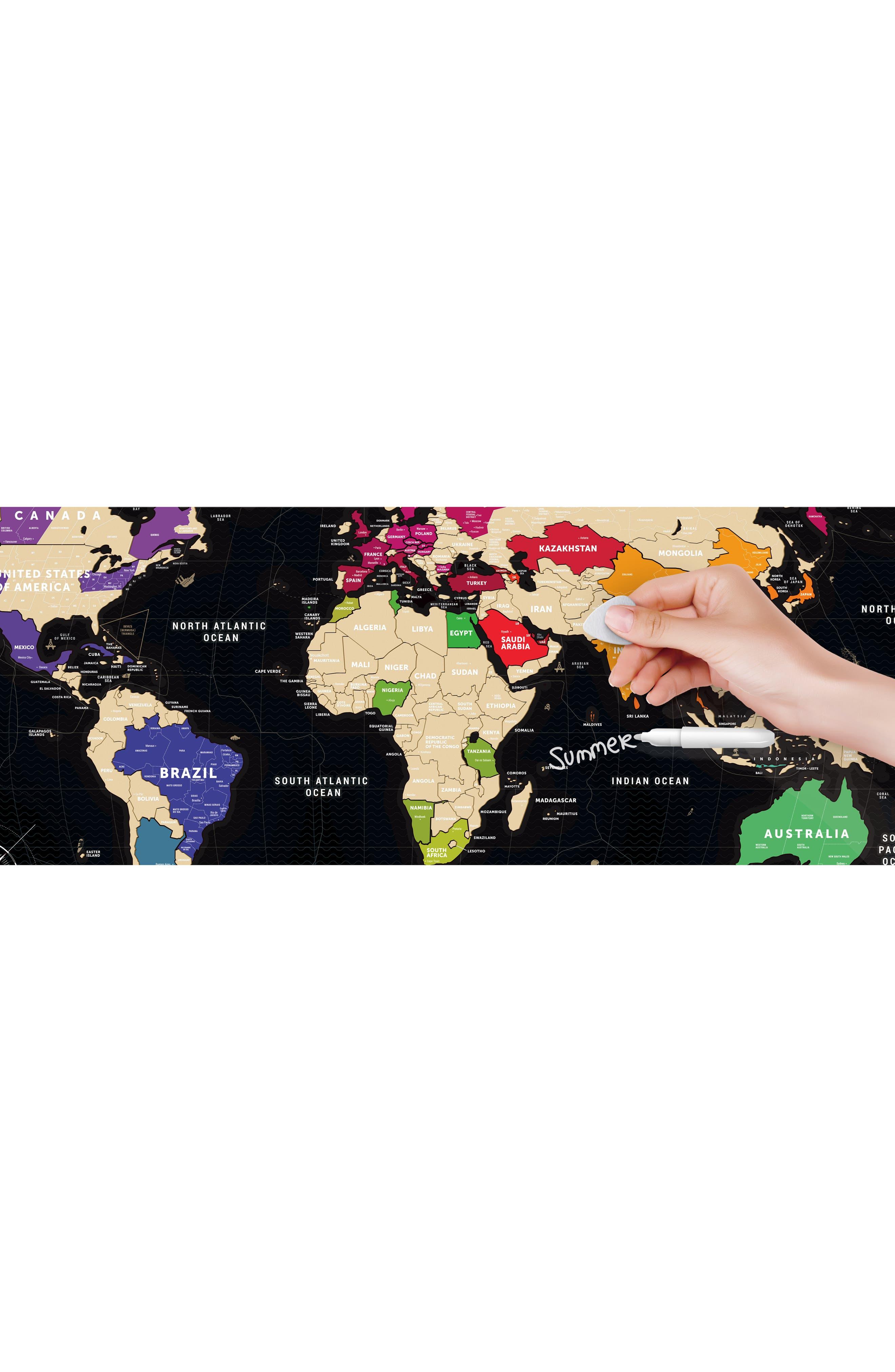 World Travel Map,                             Alternate thumbnail 8, color,                             BLACK