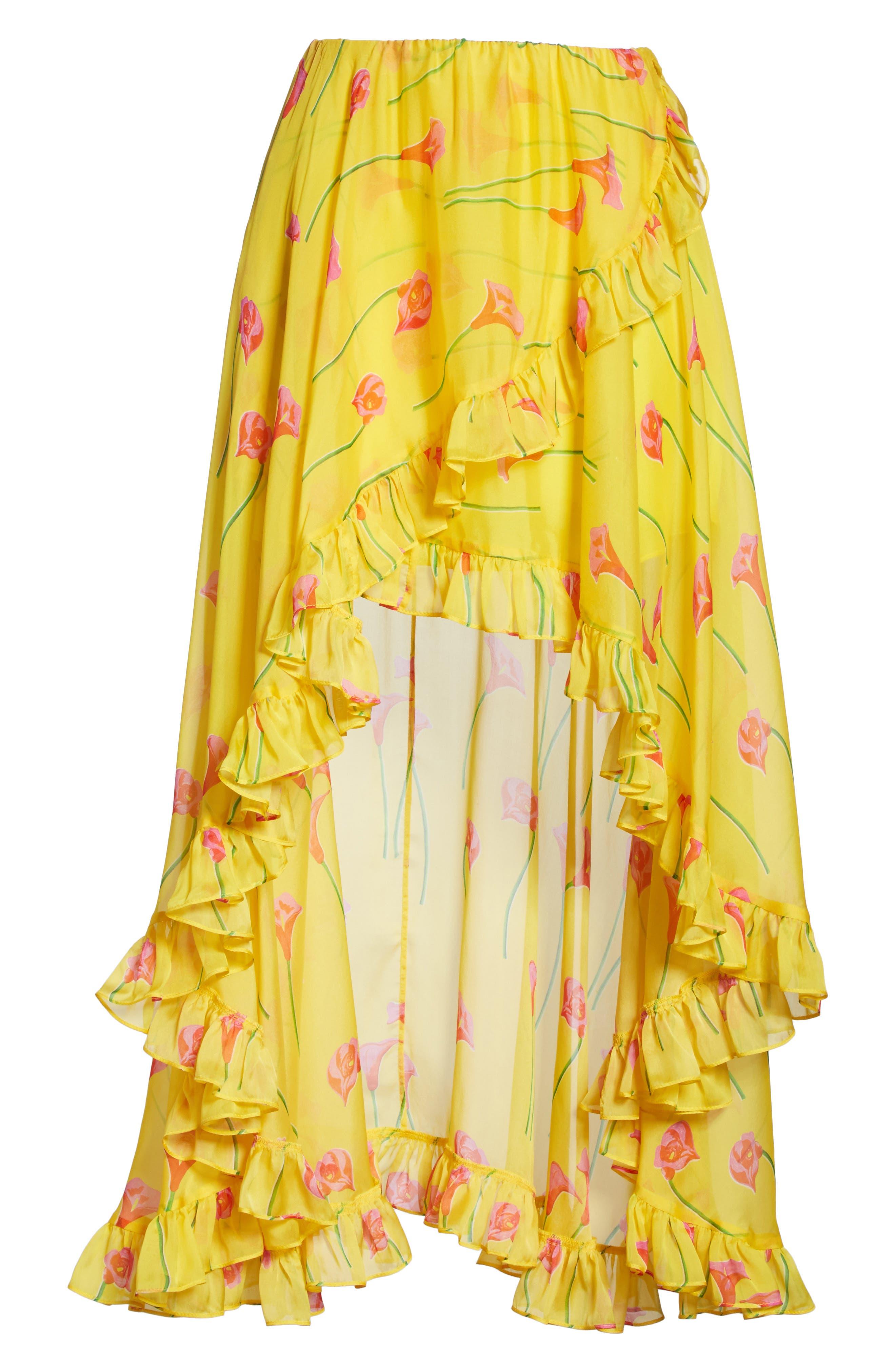 CAROLINE CONSTAS,                             Adelle Ruffle Trim High/Low Silk Skirt,                             Alternate thumbnail 6, color,                             720