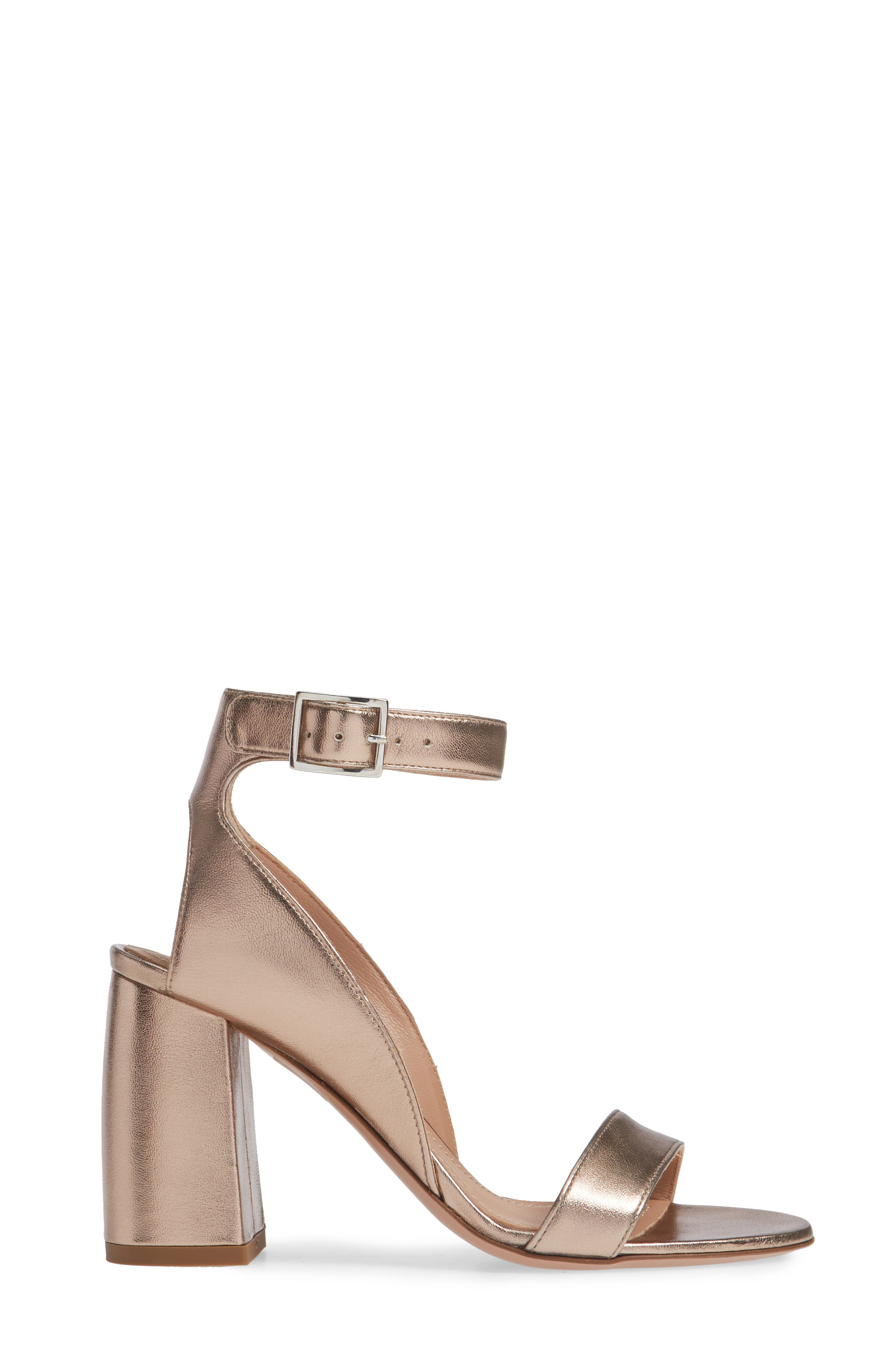 Guilia Block Heel Sandal,                             Alternate thumbnail 3, color,                             BRONZE LEATHER