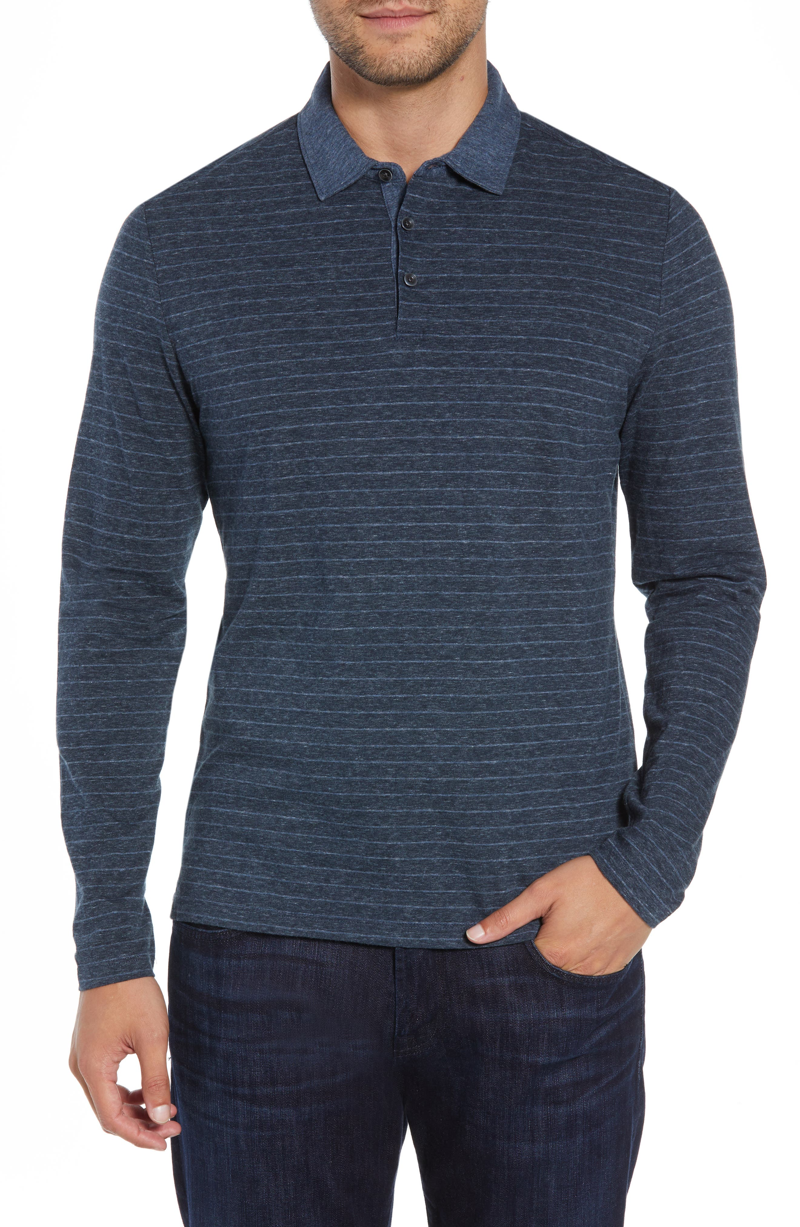 Wellington Regular Fit Long Sleeve Polo,                         Main,                         color, NAVY