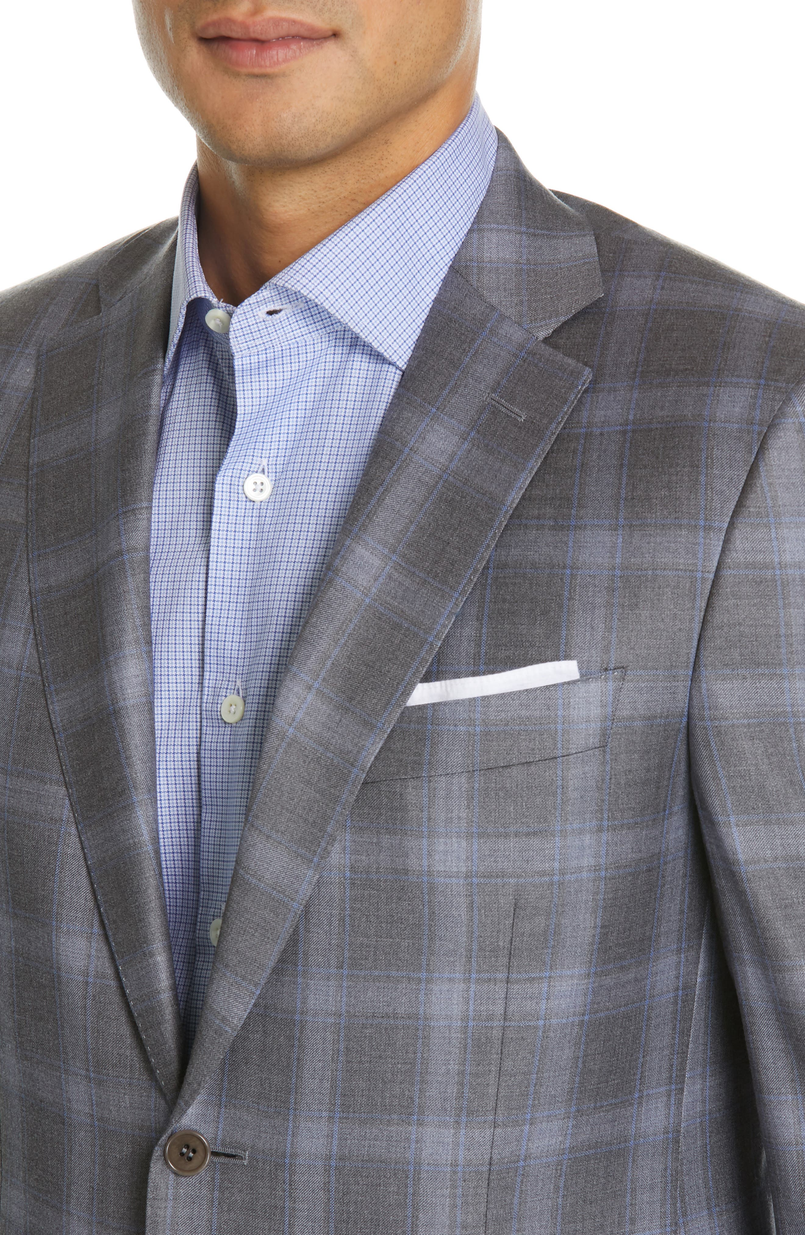 Sienna Classic Fit Plaid Wool Sport Coat,                             Alternate thumbnail 4, color,                             GREY