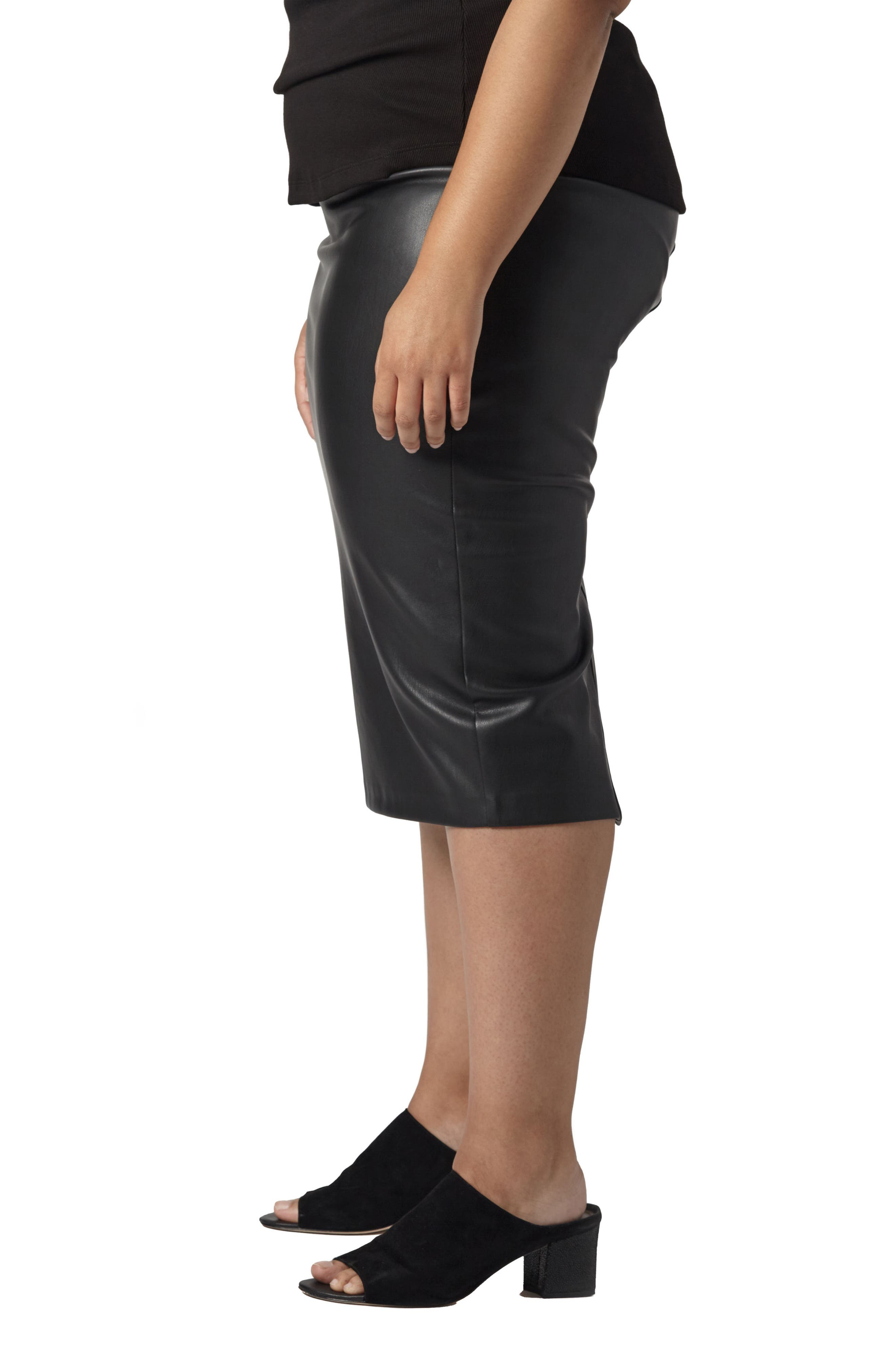 Sillaro Faux Leather Pencil Skirt,                             Alternate thumbnail 3, color,                             001