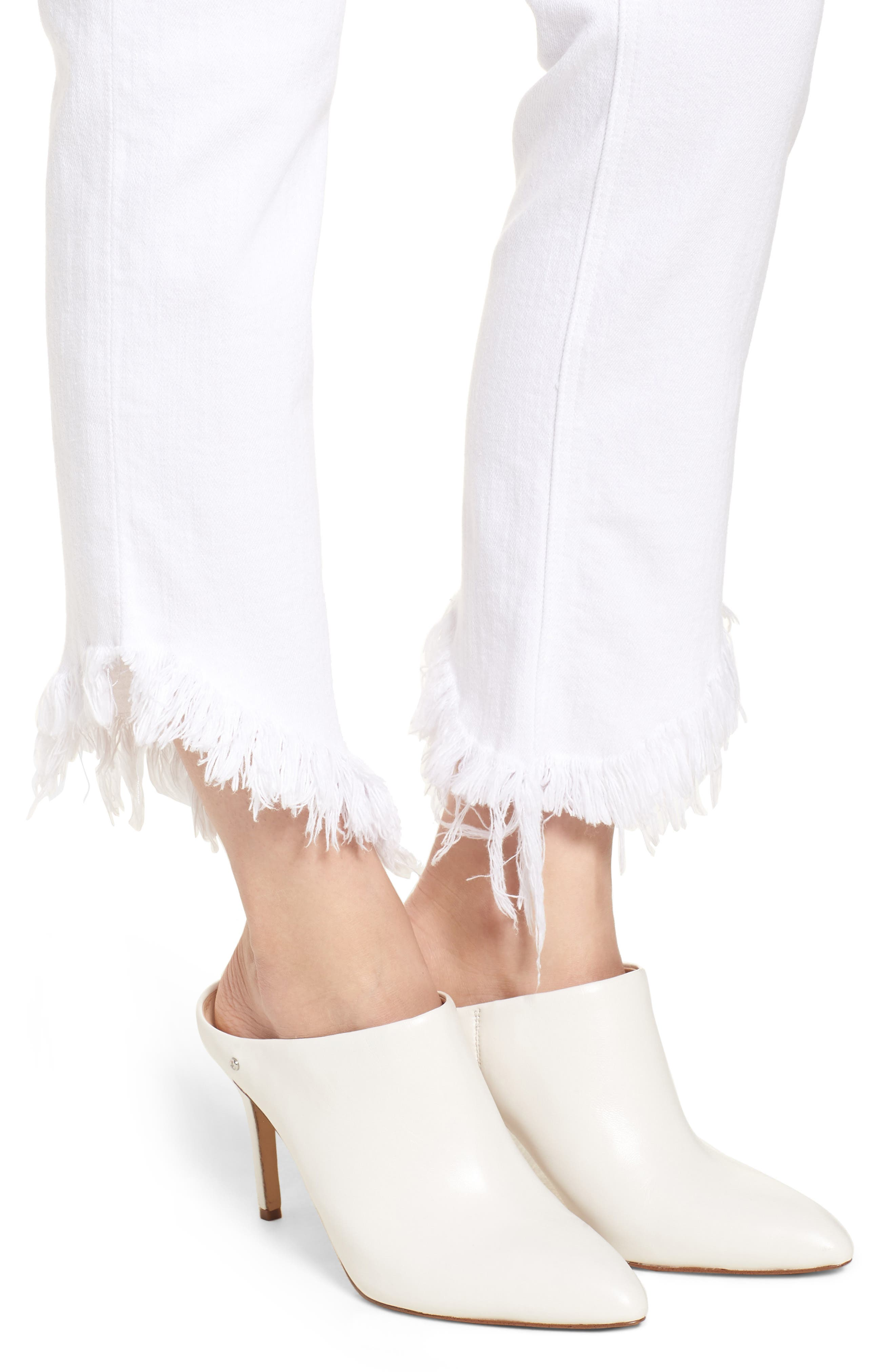 Valletta High Waist Crop Straight Leg Jeans,                             Alternate thumbnail 4, color,                             100