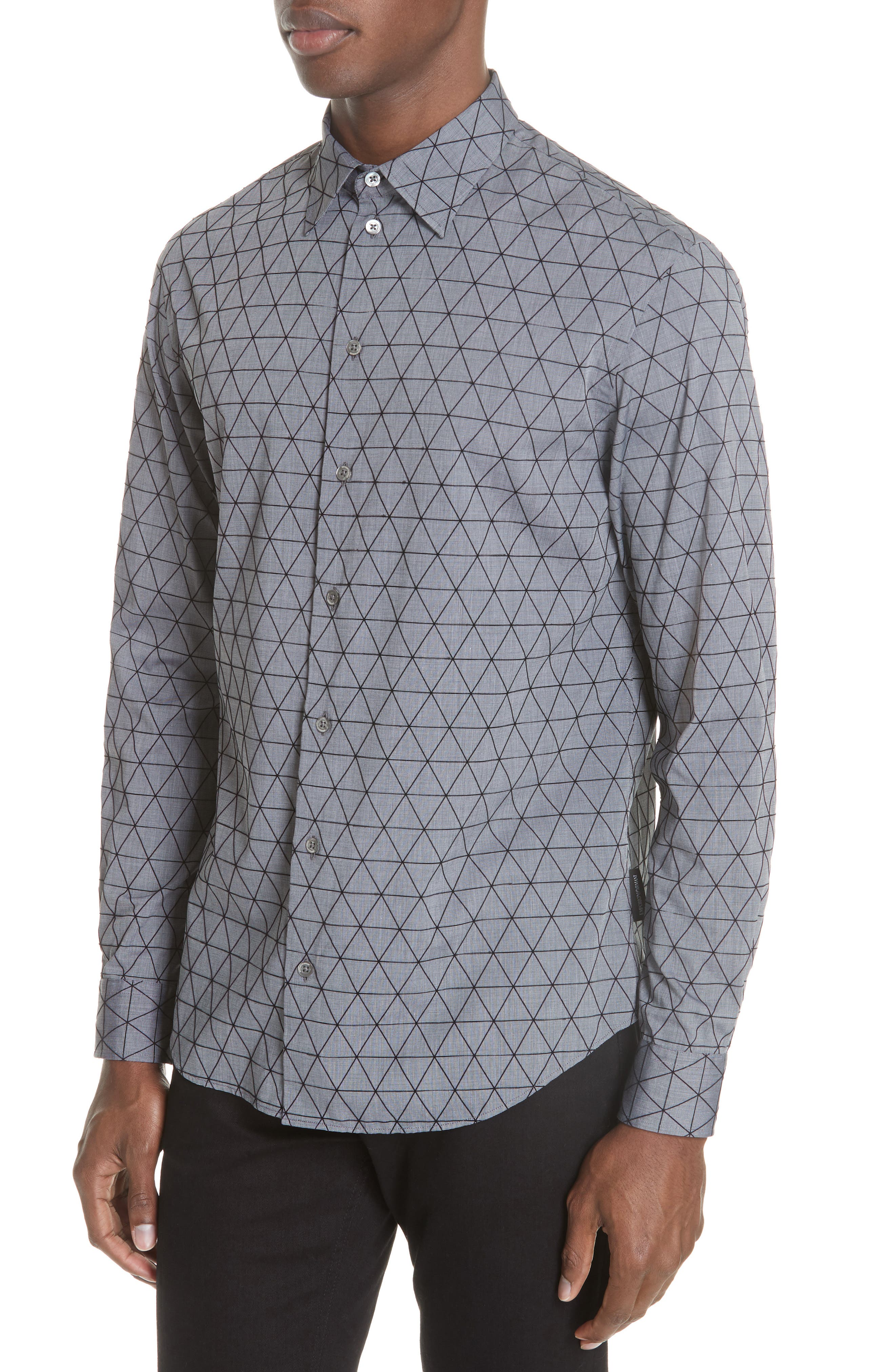 Regular Fit Geometric Sport Shirt,                             Alternate thumbnail 4, color,                             GREY MULTI
