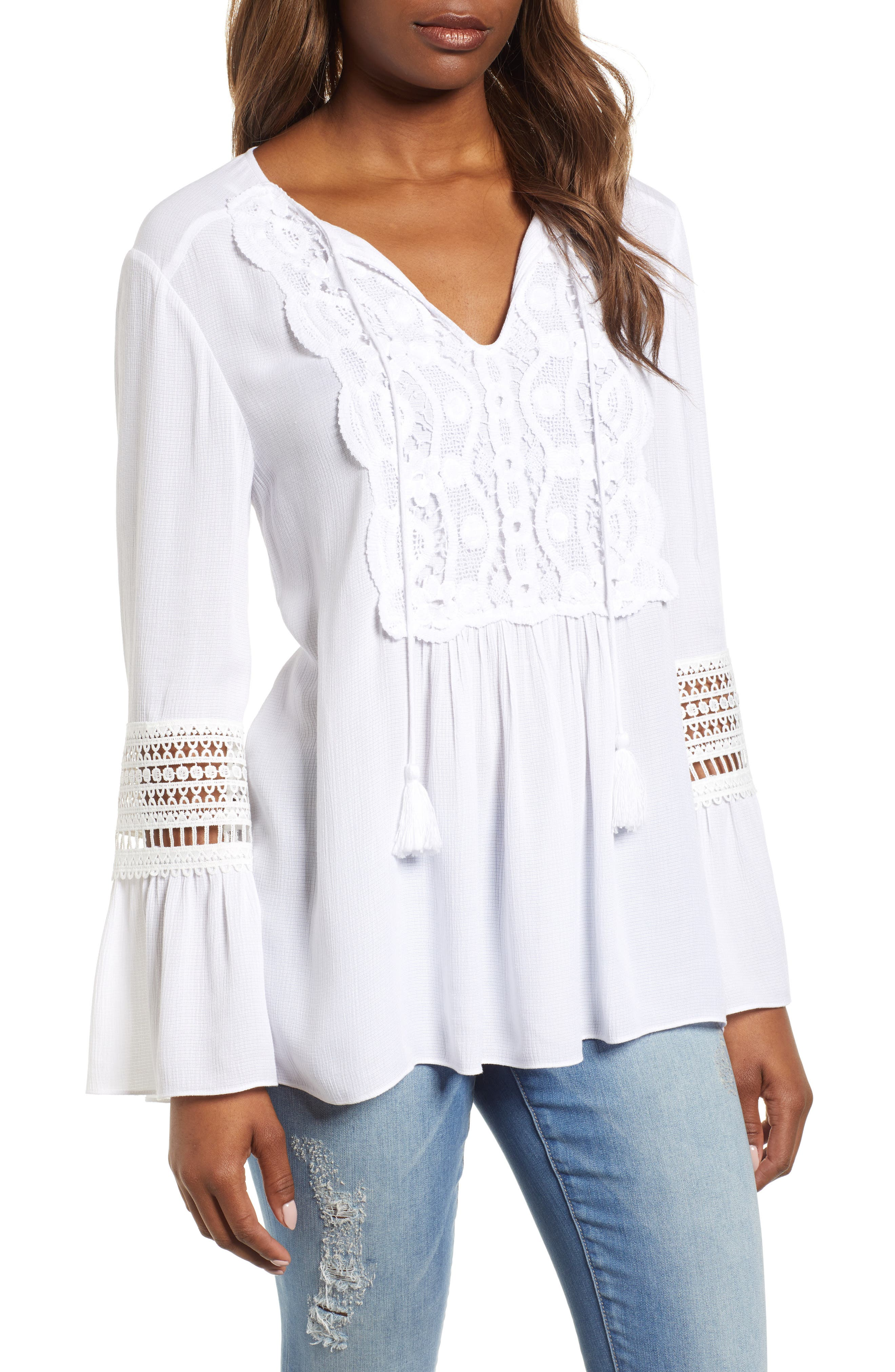 Ruffle Inset Peasant Blouse,                         Main,                         color, 145