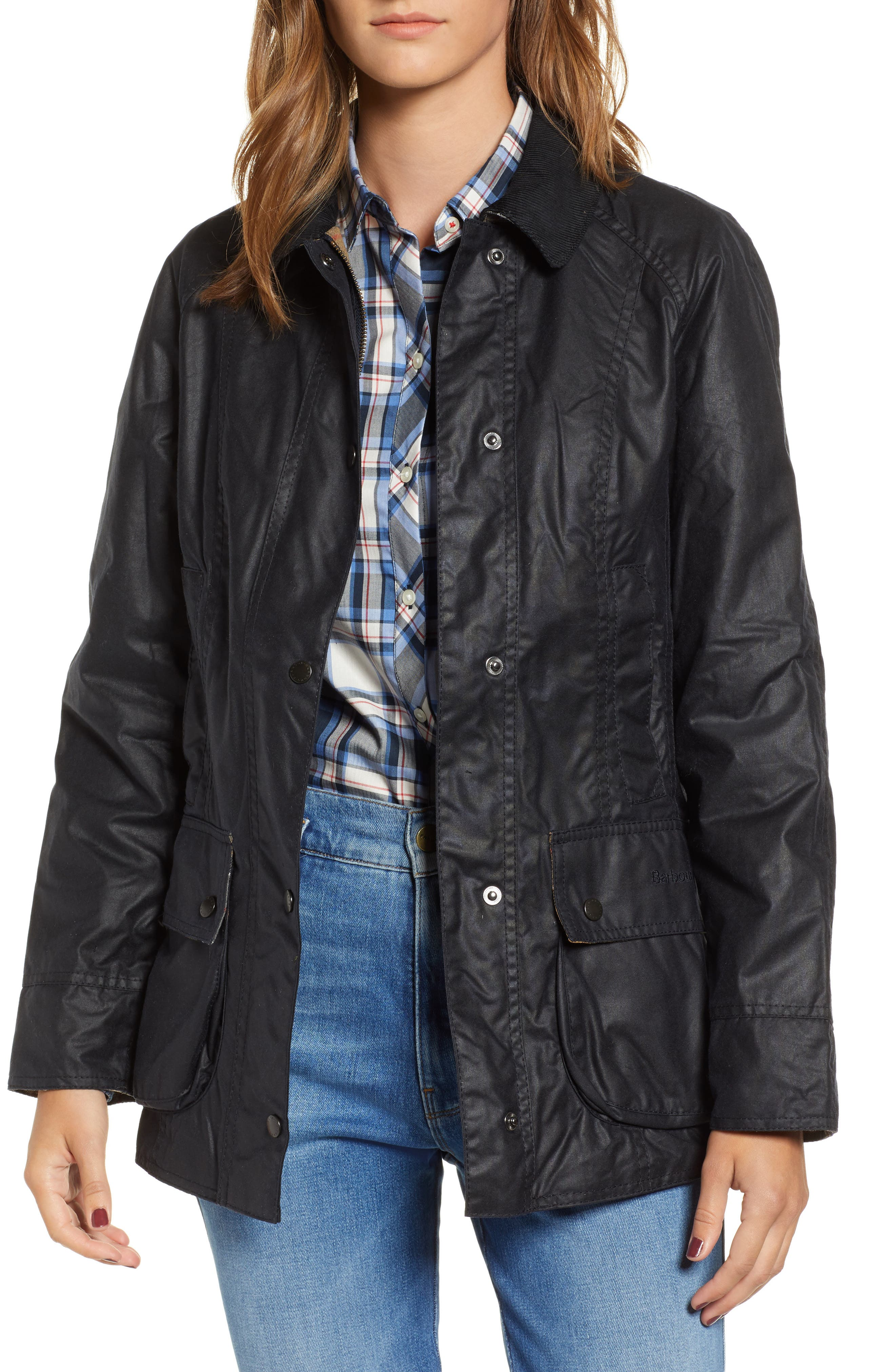 Barbour Beadnell Waxed Cotton Jacket, 18 UK - Blue