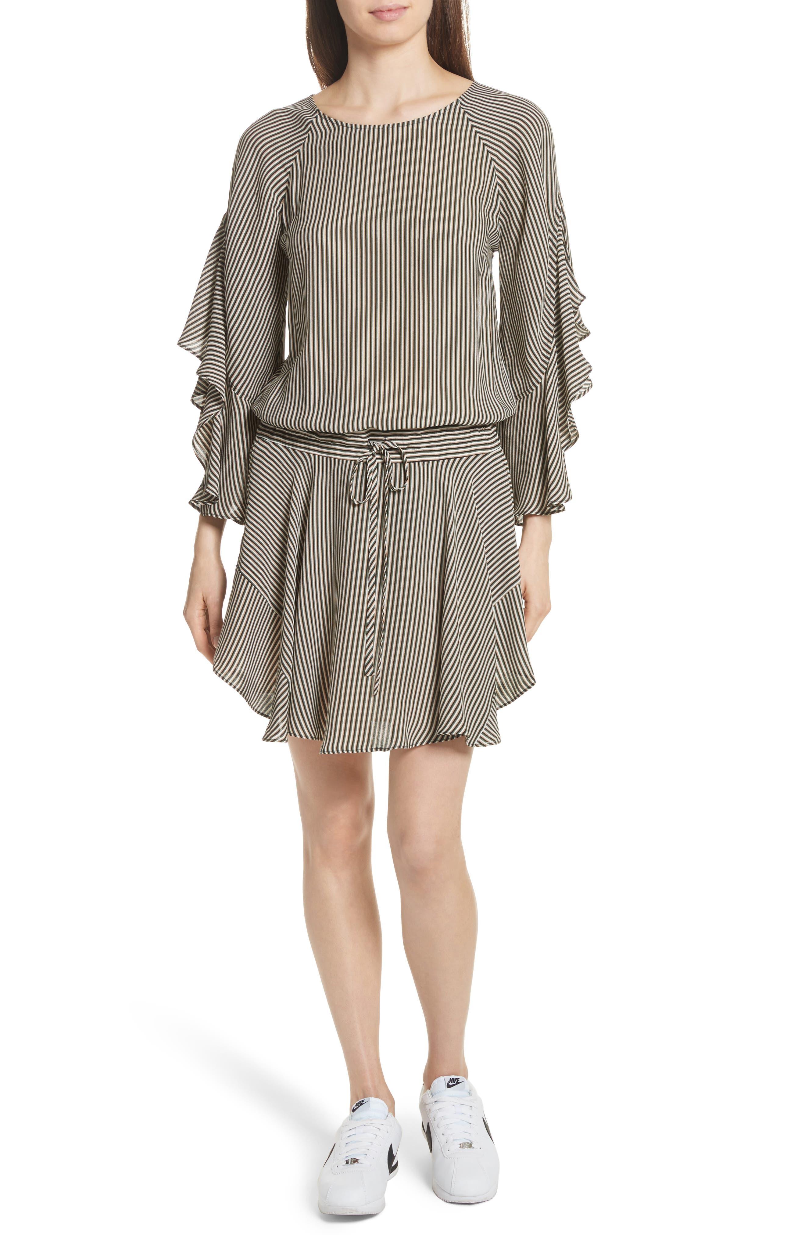 Cannon Stripe Silk Dress,                             Main thumbnail 1, color,                             101