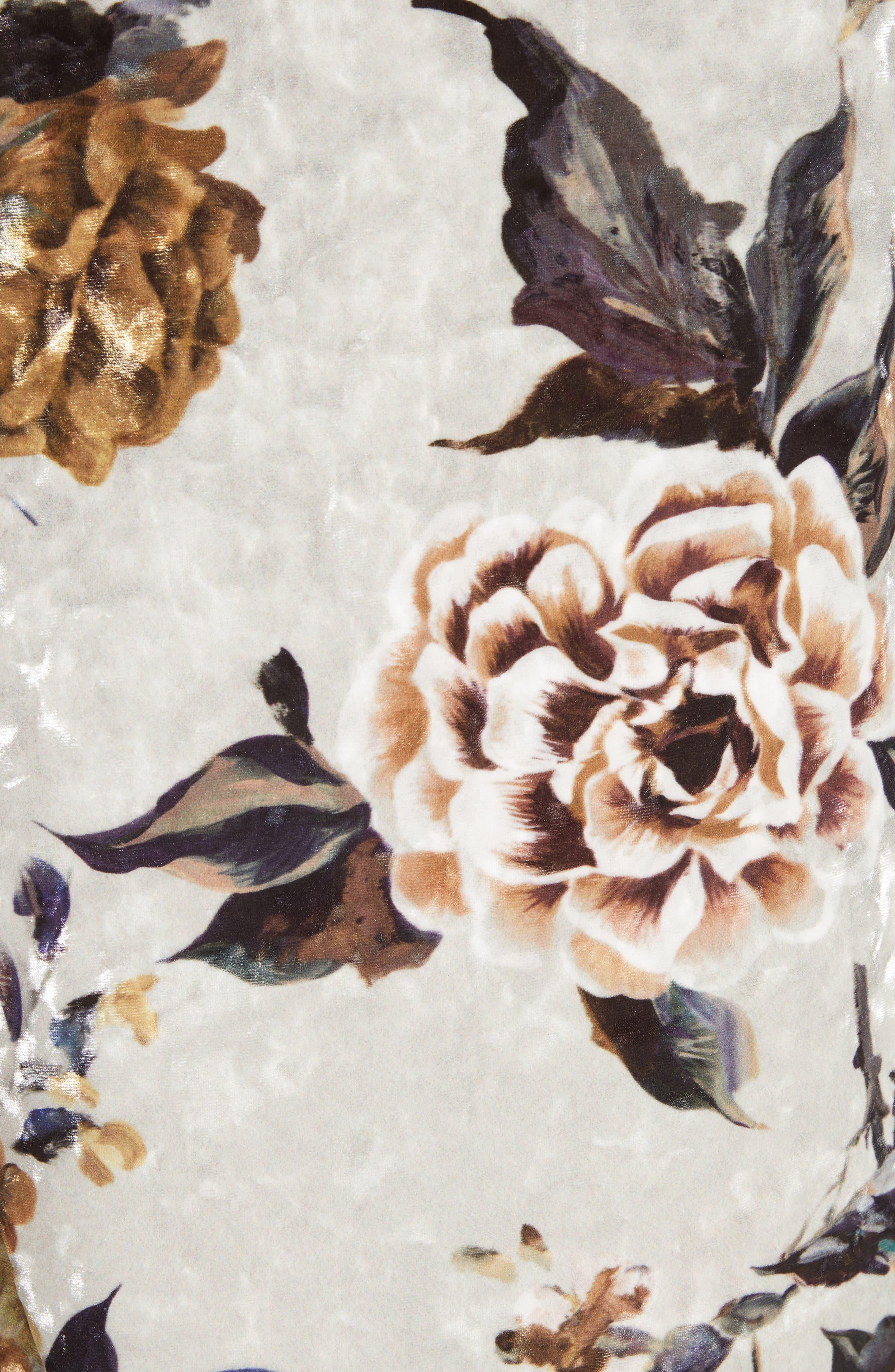 Floral Print Velvet Dress,                             Alternate thumbnail 5, color,                             087