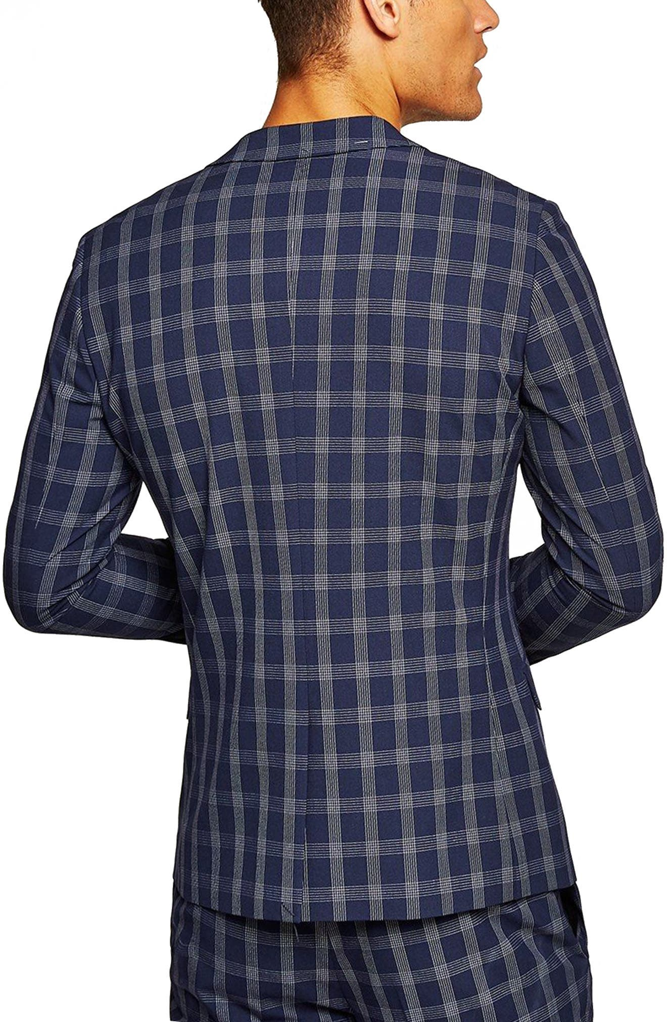 Muscle Fit Check Suit Jacket,                             Alternate thumbnail 2, color,                             NAVY BLUE MULTI