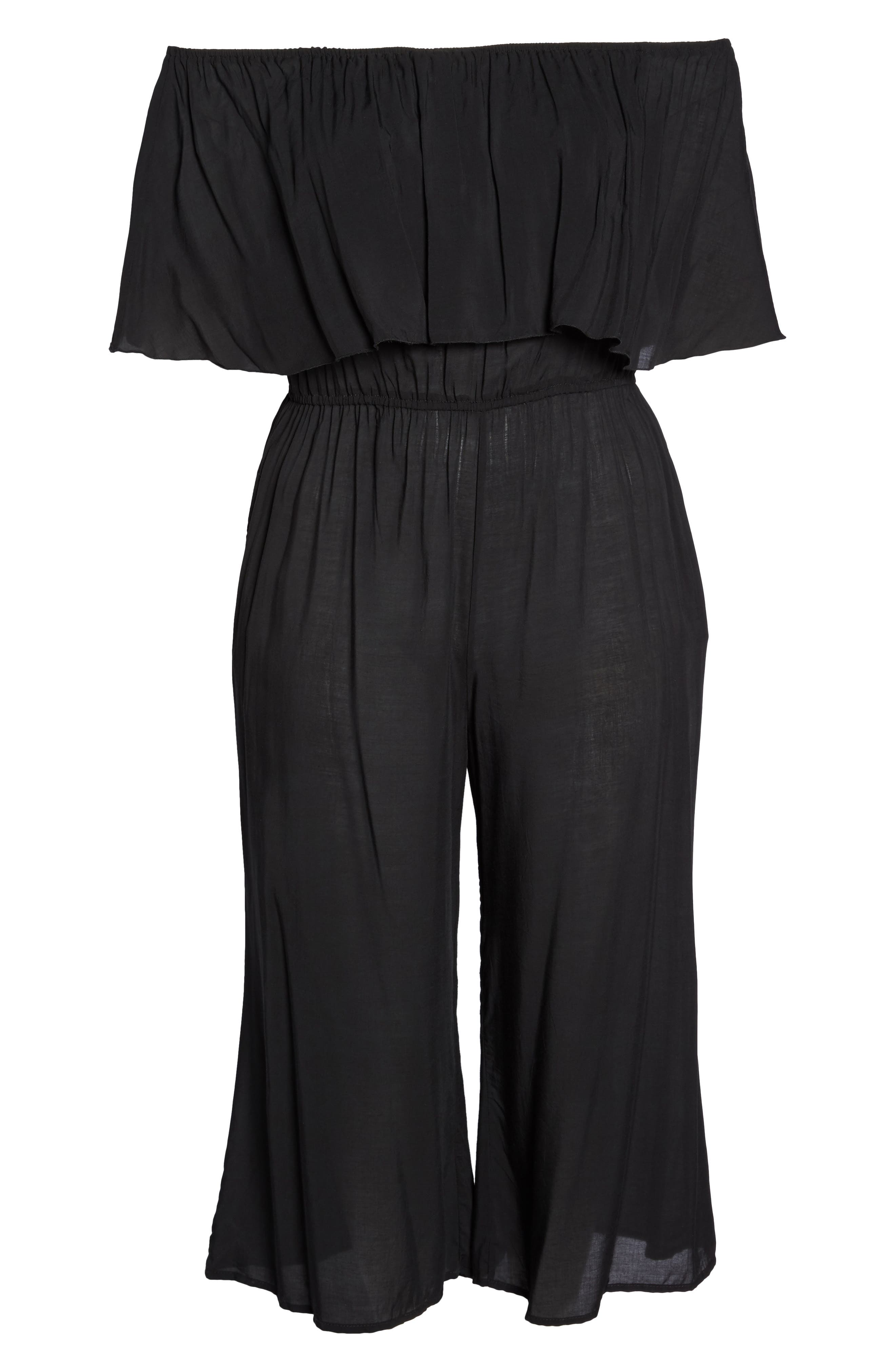 Off the Shoulder Cover-Up Jumpsuit,                             Alternate thumbnail 6, color,