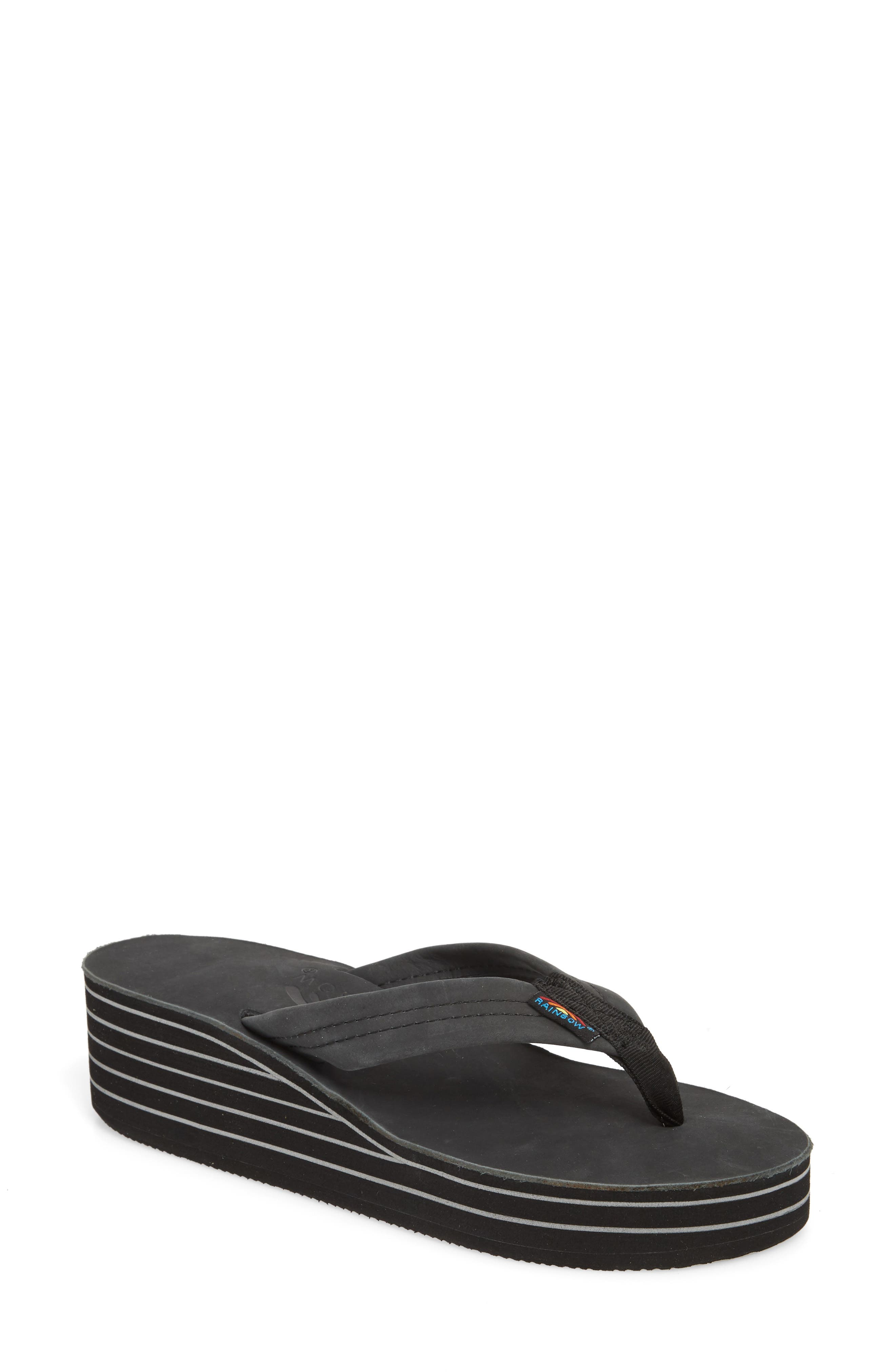 RAINBOW<SUP>®</SUP> Rainbow 6-Layer Wedge Flip Flop, Main, color, 001