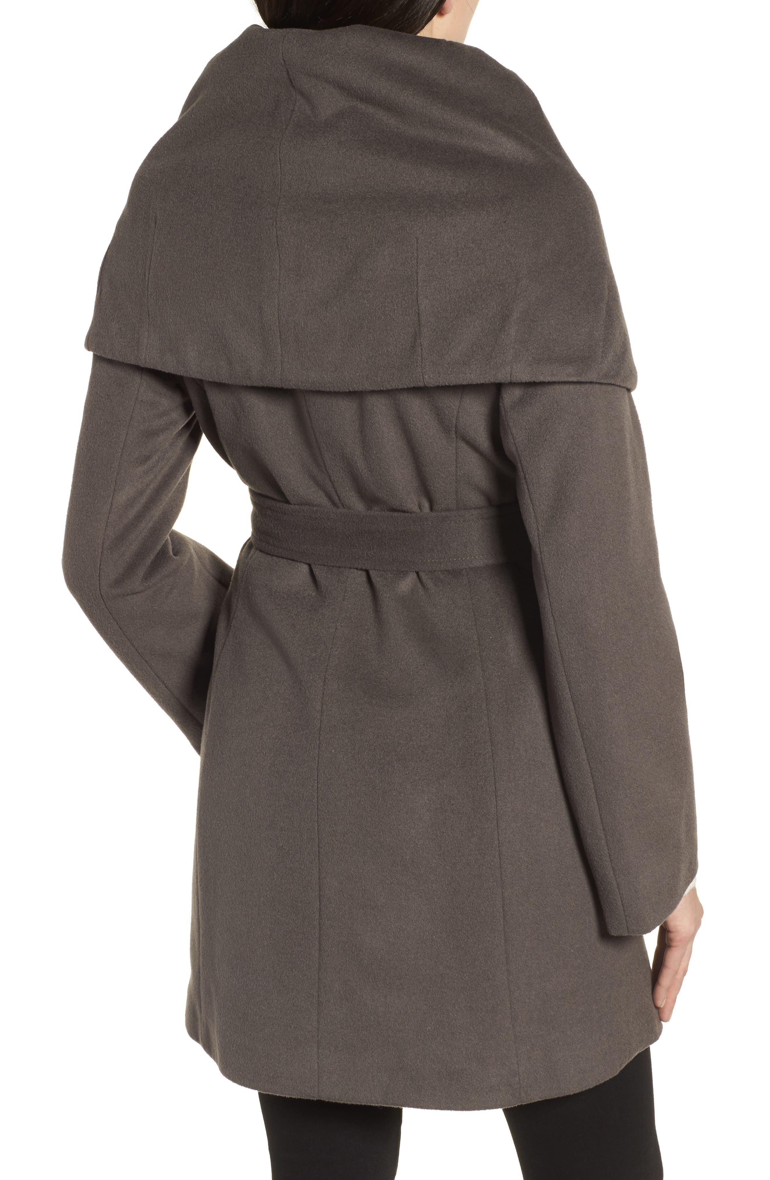 T Tahari Wool Blend Belted Wrap Coat,                             Alternate thumbnail 12, color,