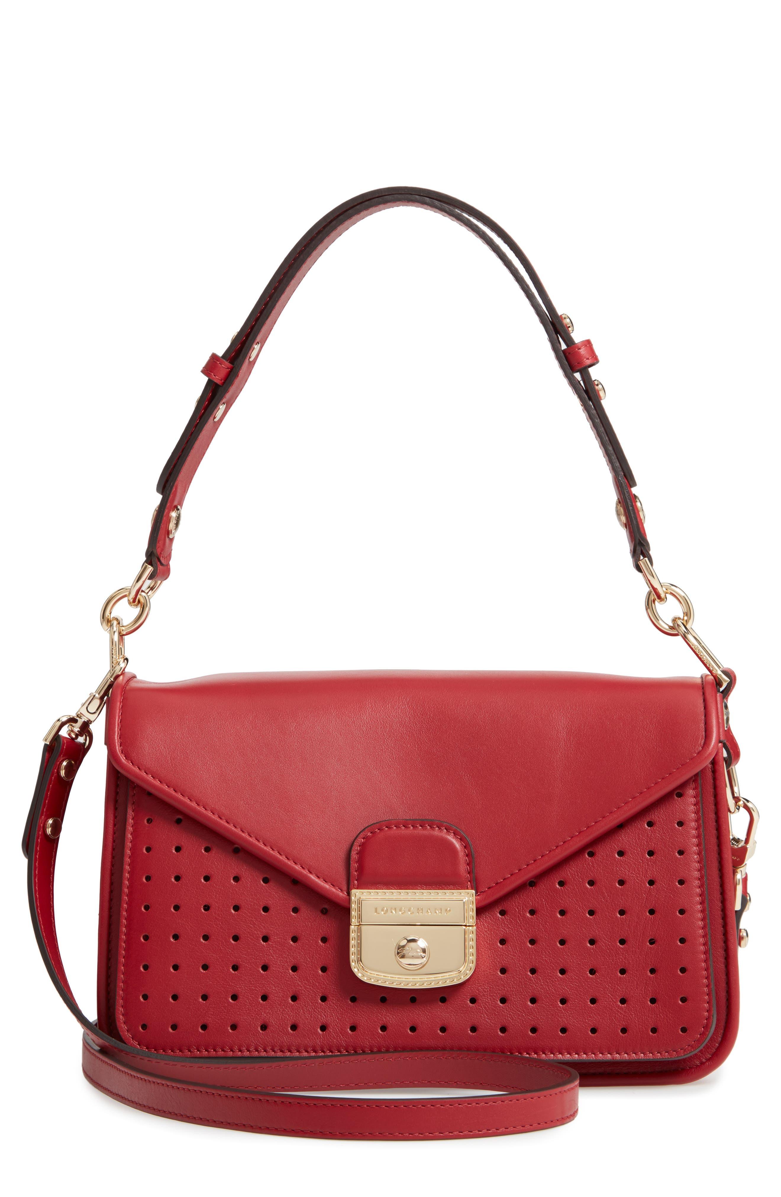 Mademoiselle Calfskin Leather Crossbody Bag,                             Main thumbnail 1, color,                             GARNET RED