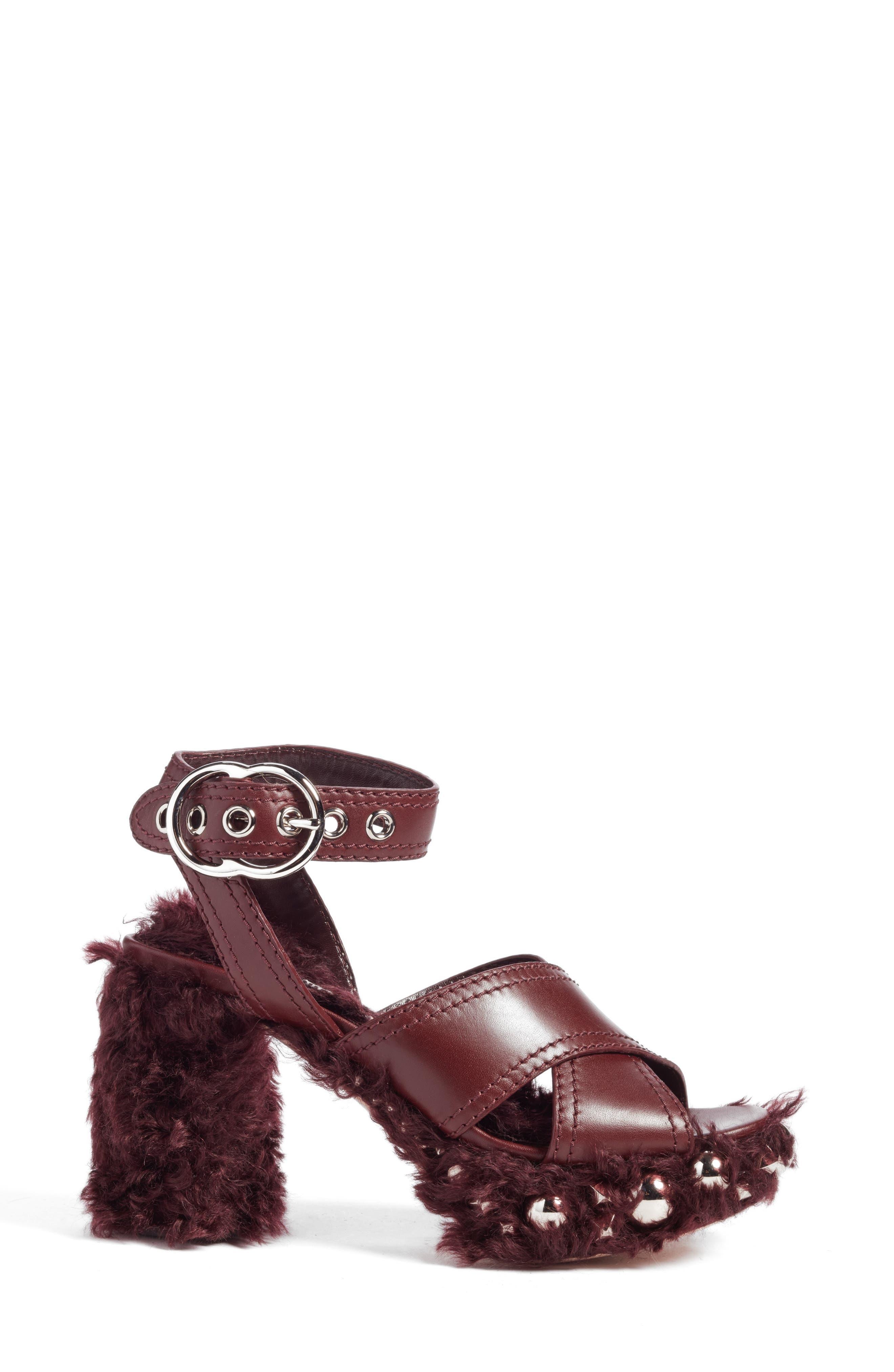 Faux Fur Platform Sandal,                             Alternate thumbnail 3, color,                             930