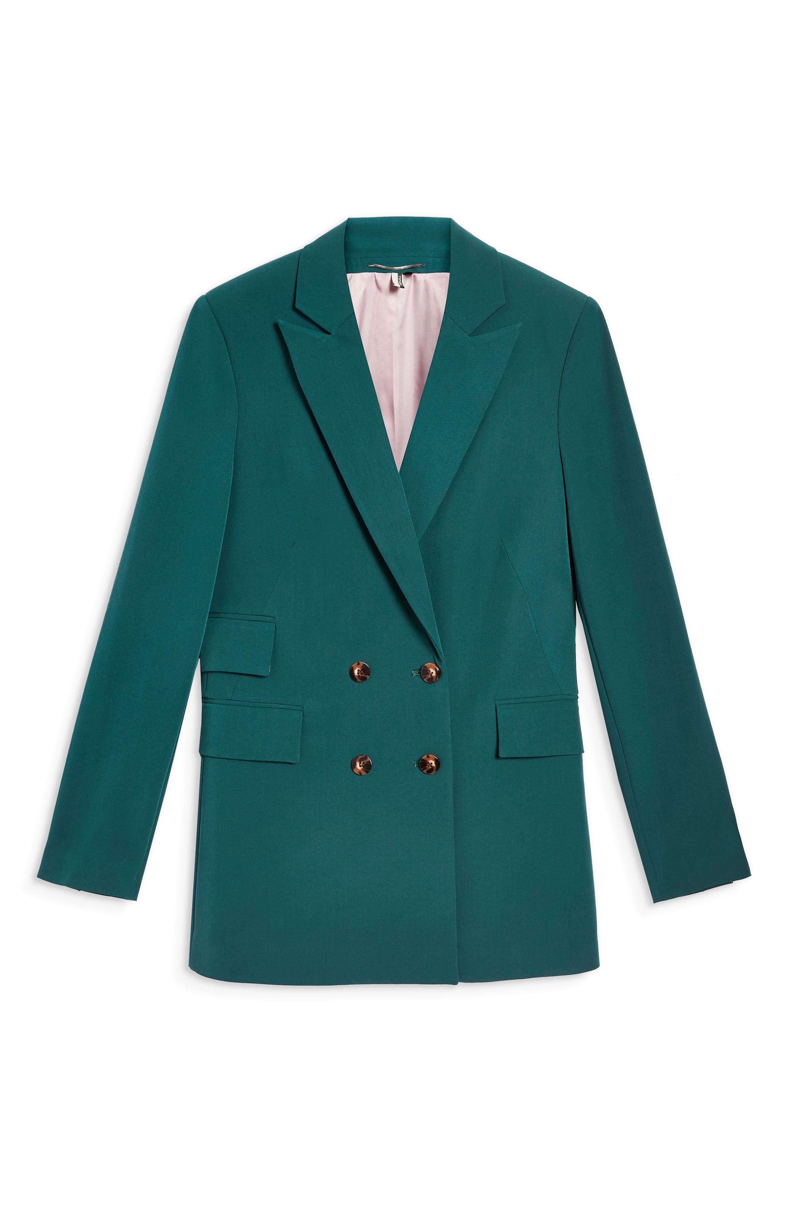 Double Breasted Jacket,                             Alternate thumbnail 6, color,                             DARK GREEN