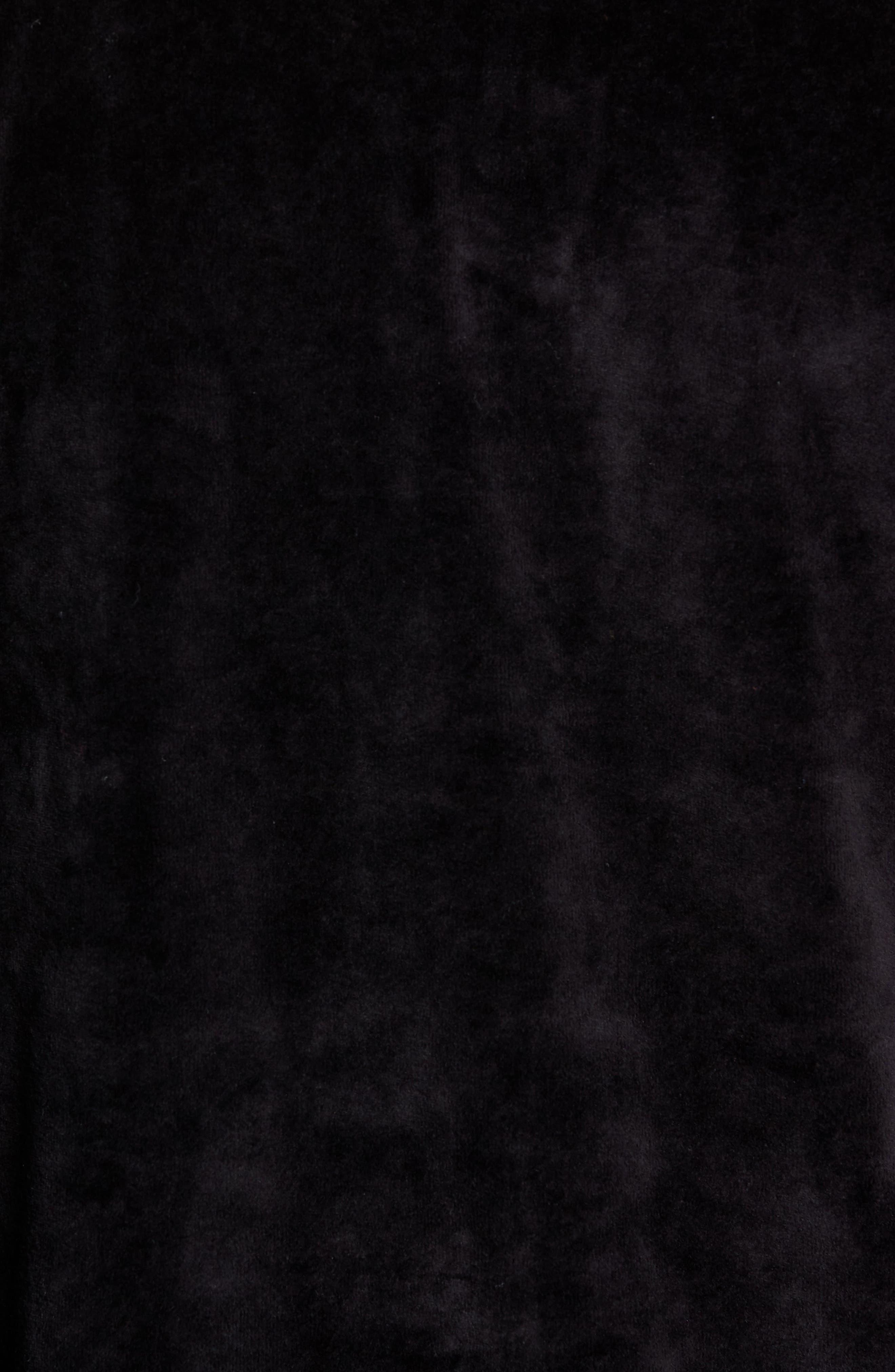 Saucer Long Sleeve Velour Polo,                             Alternate thumbnail 5, color,                             BLACK
