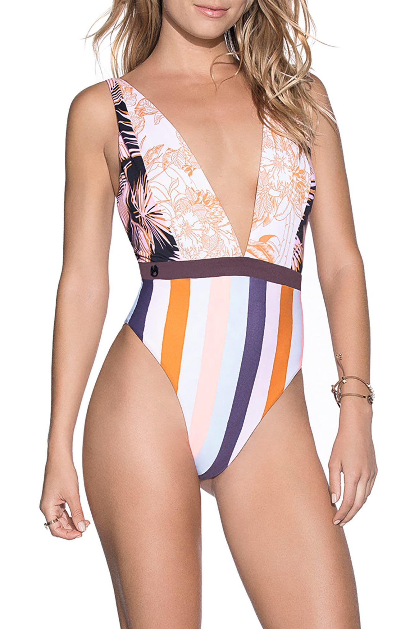 Rainbow Jungle Reversible One-Piece Swimsuit,                         Main,                         color, 950