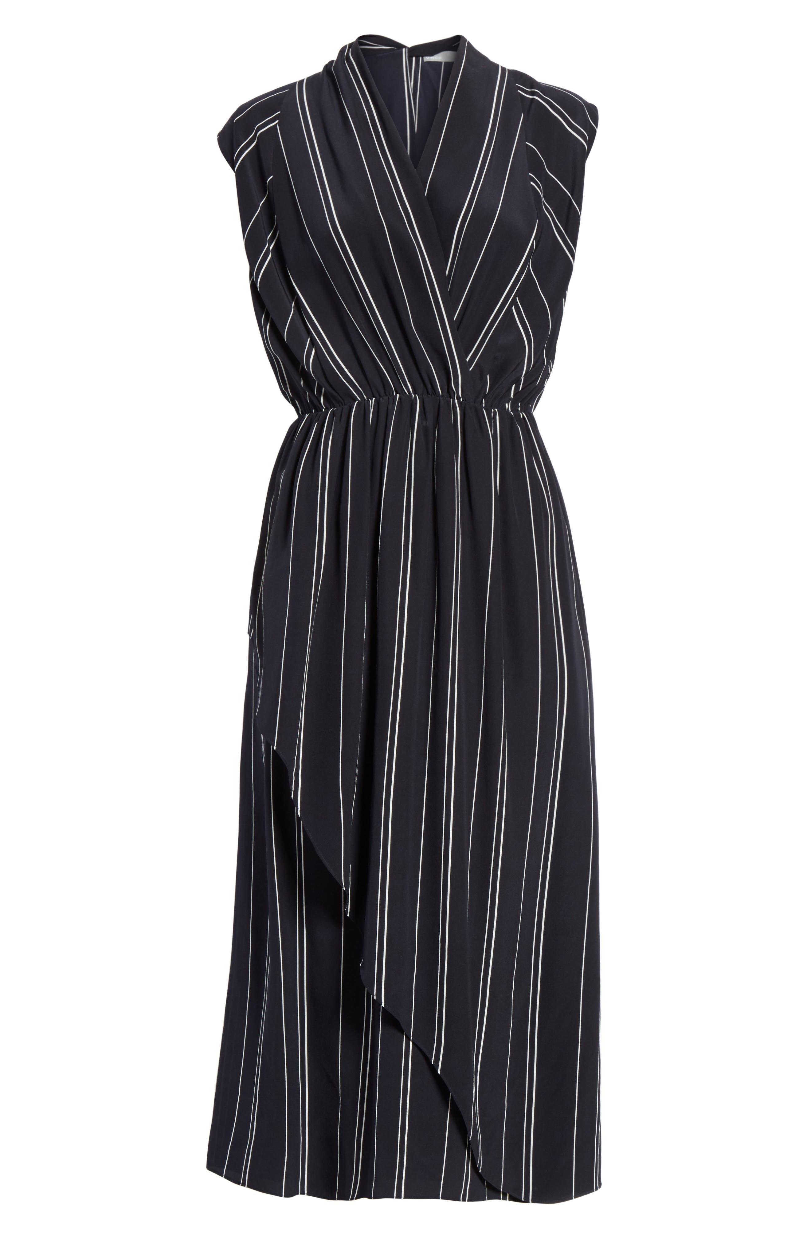 Draped Front Stripe Silk Midi Dress,                             Alternate thumbnail 6, color,                             403