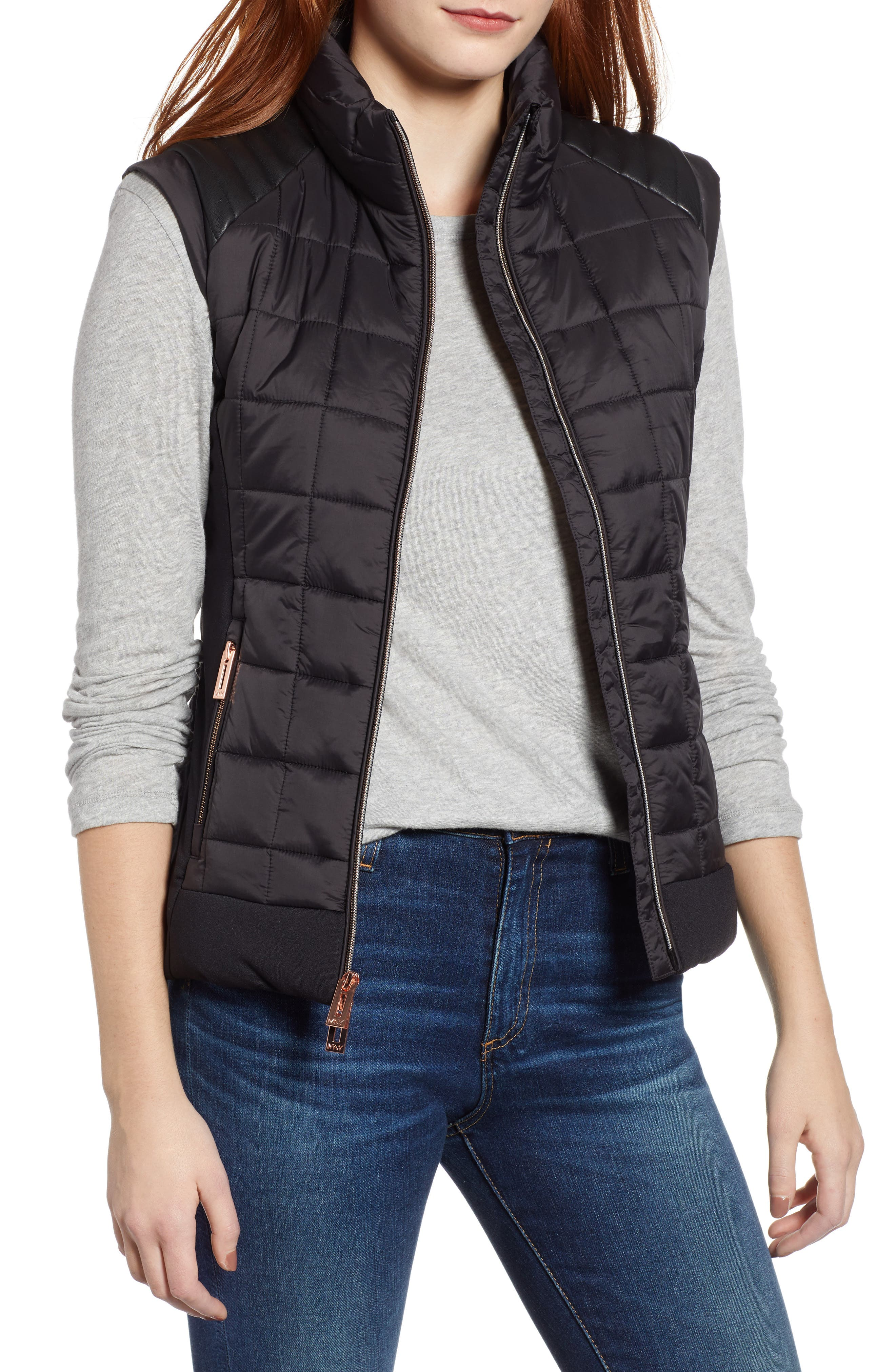 Marc New York Faux Leather Trim Quilted Vest, Black