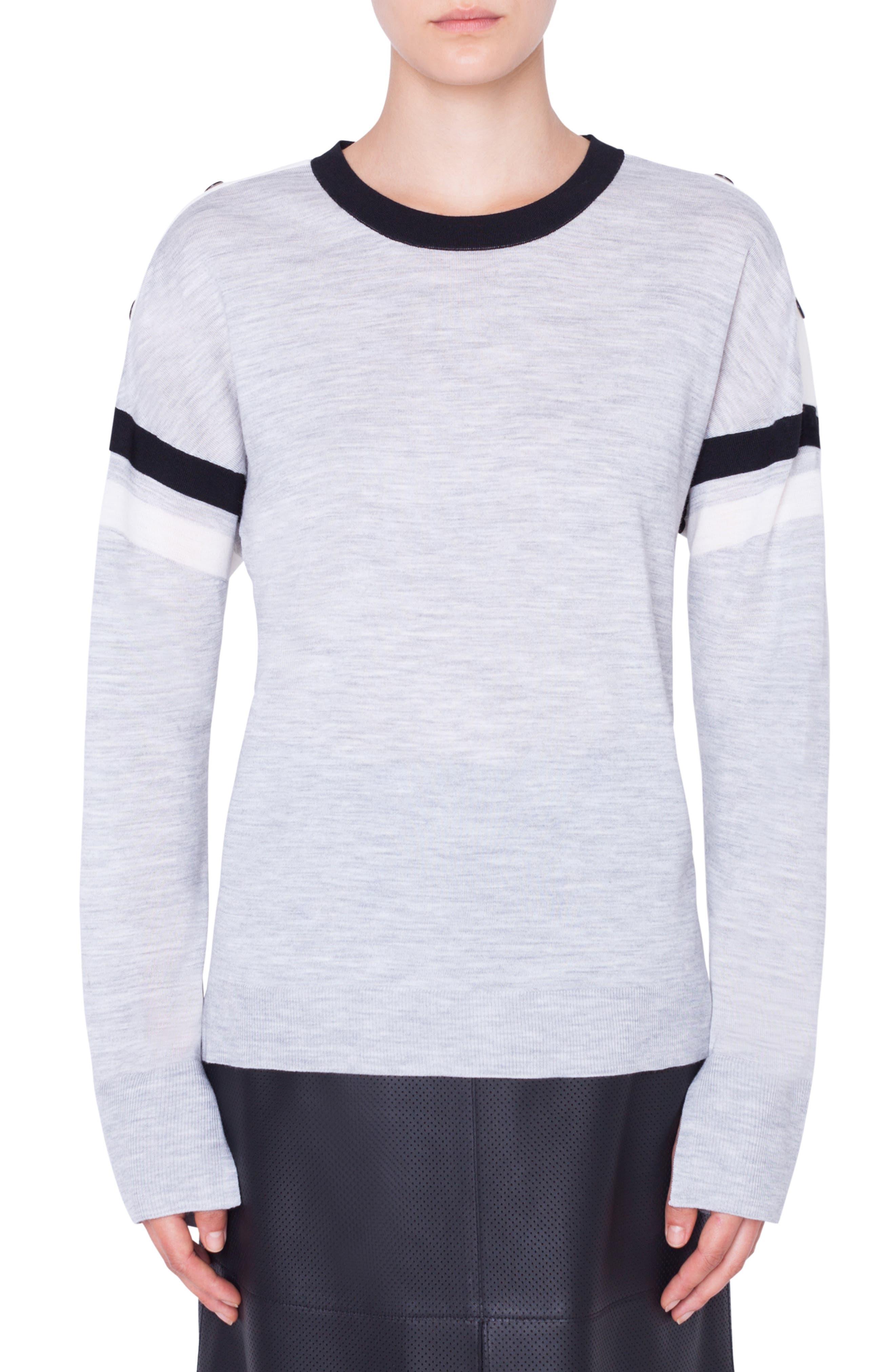 Akris Punto Shoulder Snap Merino Wool Sweater, Grey