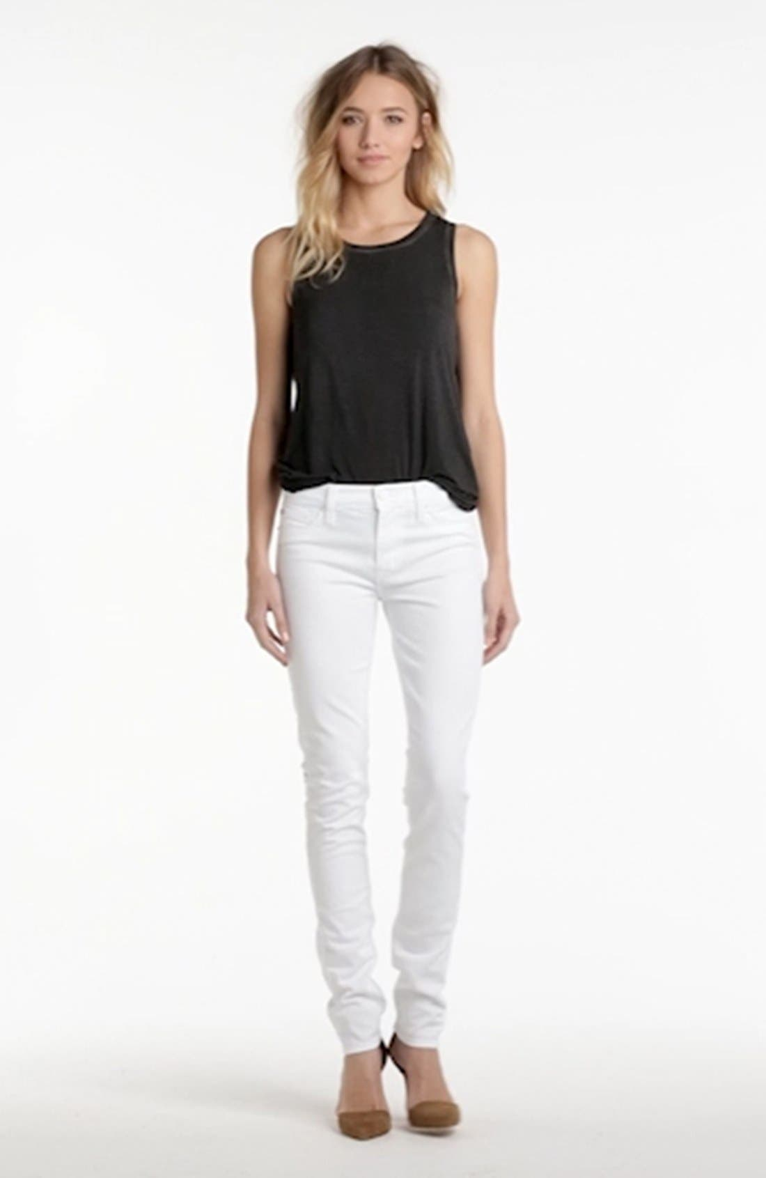 'Shine' Mid Rise Skinny Jeans,                             Alternate thumbnail 4, color,                             100