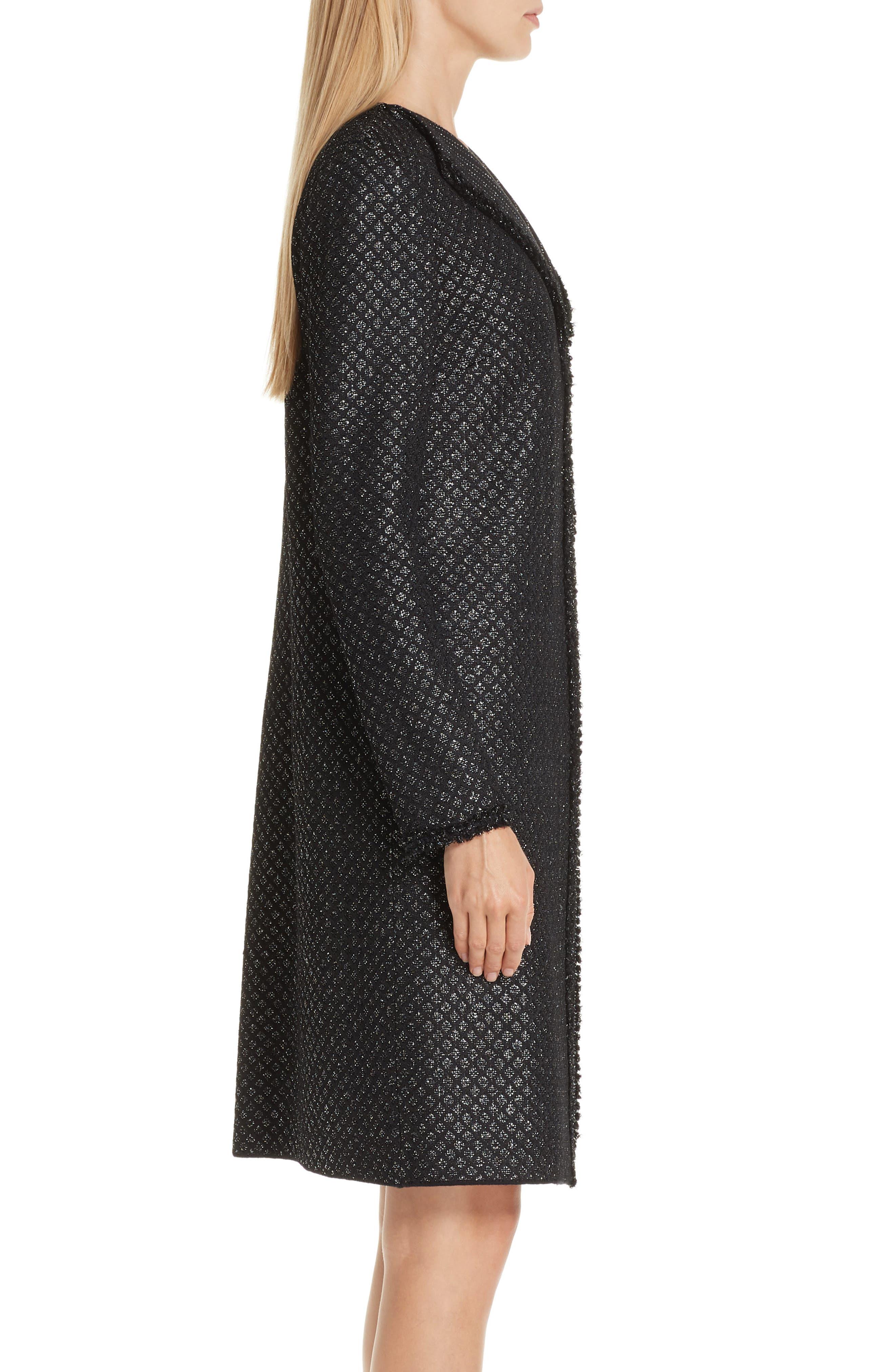 Shimmer Inlay Brocade Knit Jacket,                             Alternate thumbnail 3, color,                             CAVIAR/ SILVER