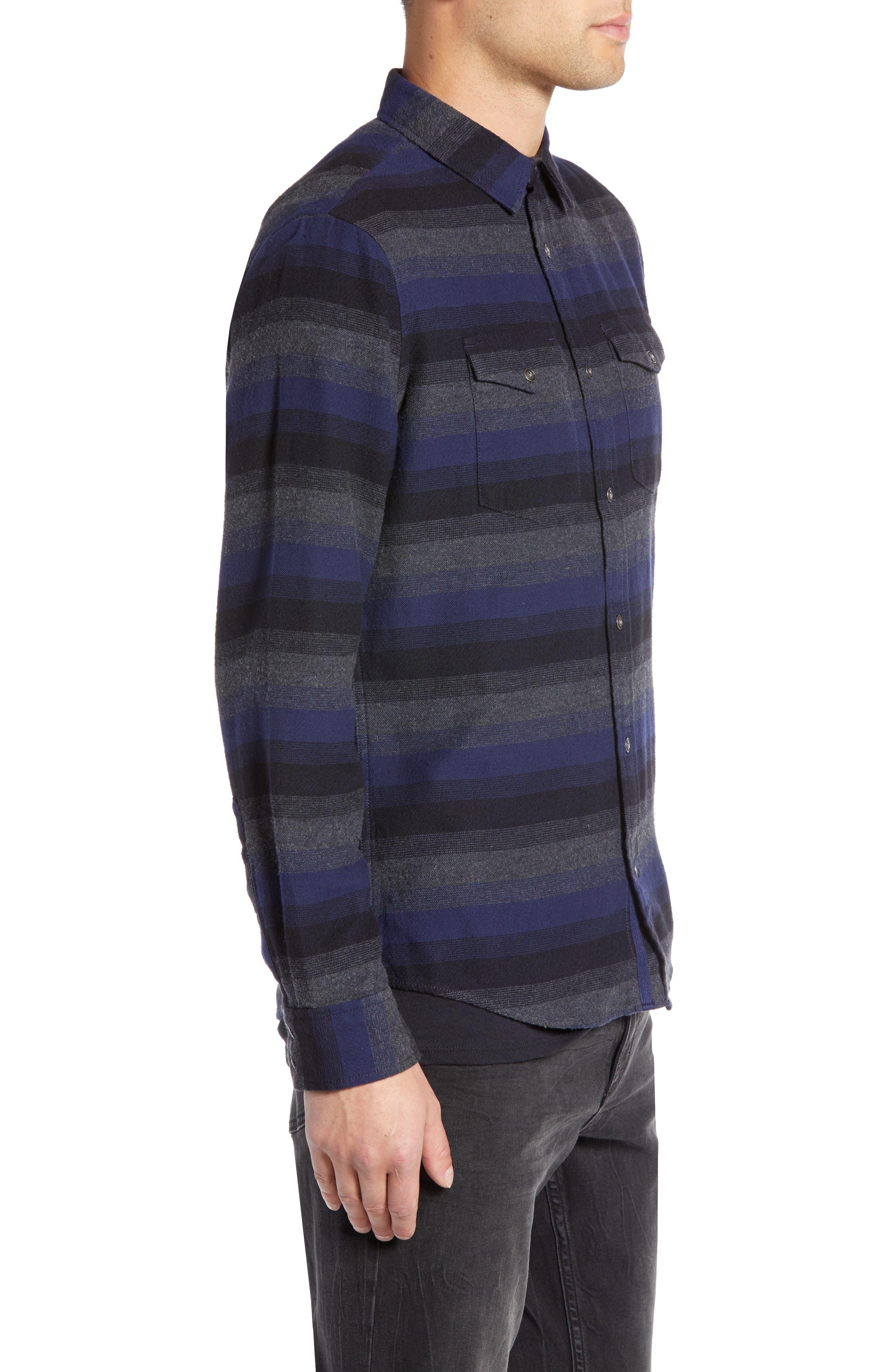 Regular Fit Ombré Sport Shirt,                             Alternate thumbnail 4, color,                             NAVY CHARCOAL OMBRE STRIPE