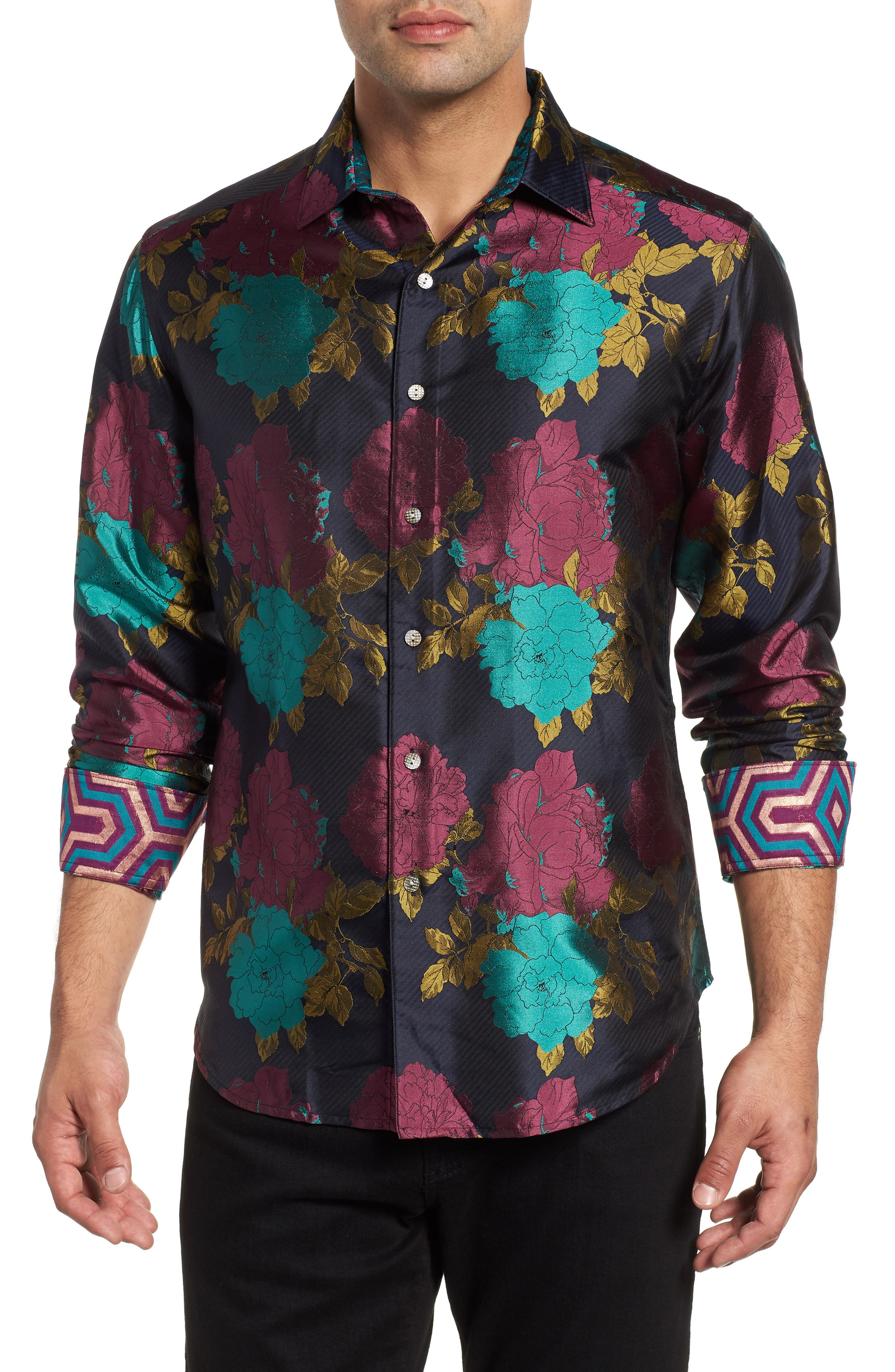 Tango Limited Edition Classic Fit Silk Sport Shirt,                         Main,                         color, MULTI