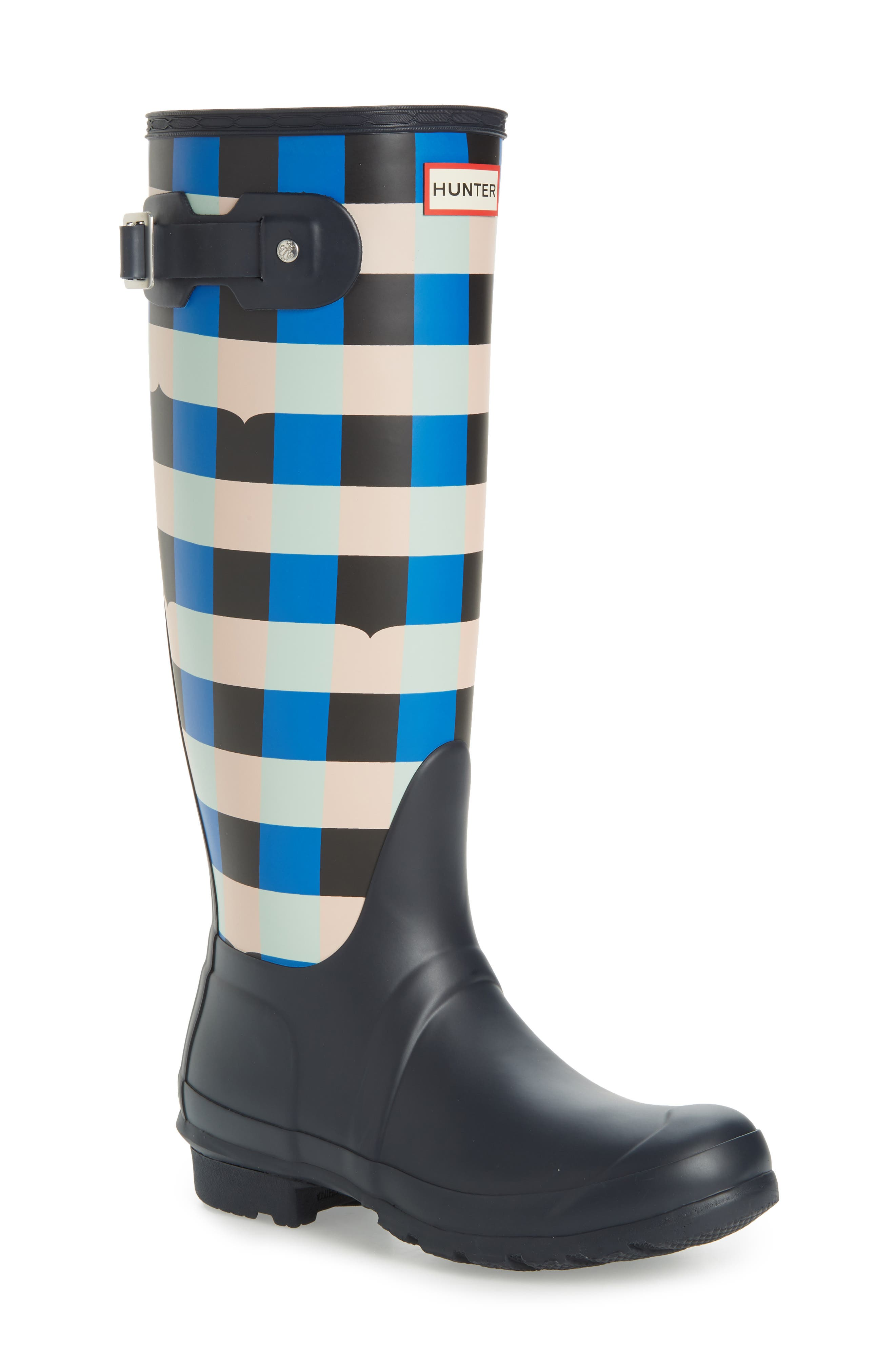 HUNTER,                             Original Tall Gingham Waterproof Rain Boot,                             Main thumbnail 1, color,                             410
