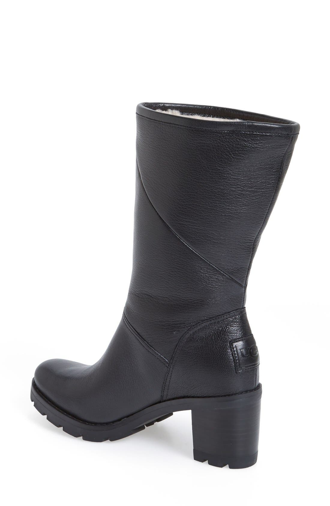 'Jessia' Water Resistant Block Heel Boot,                             Alternate thumbnail 2, color,                             001