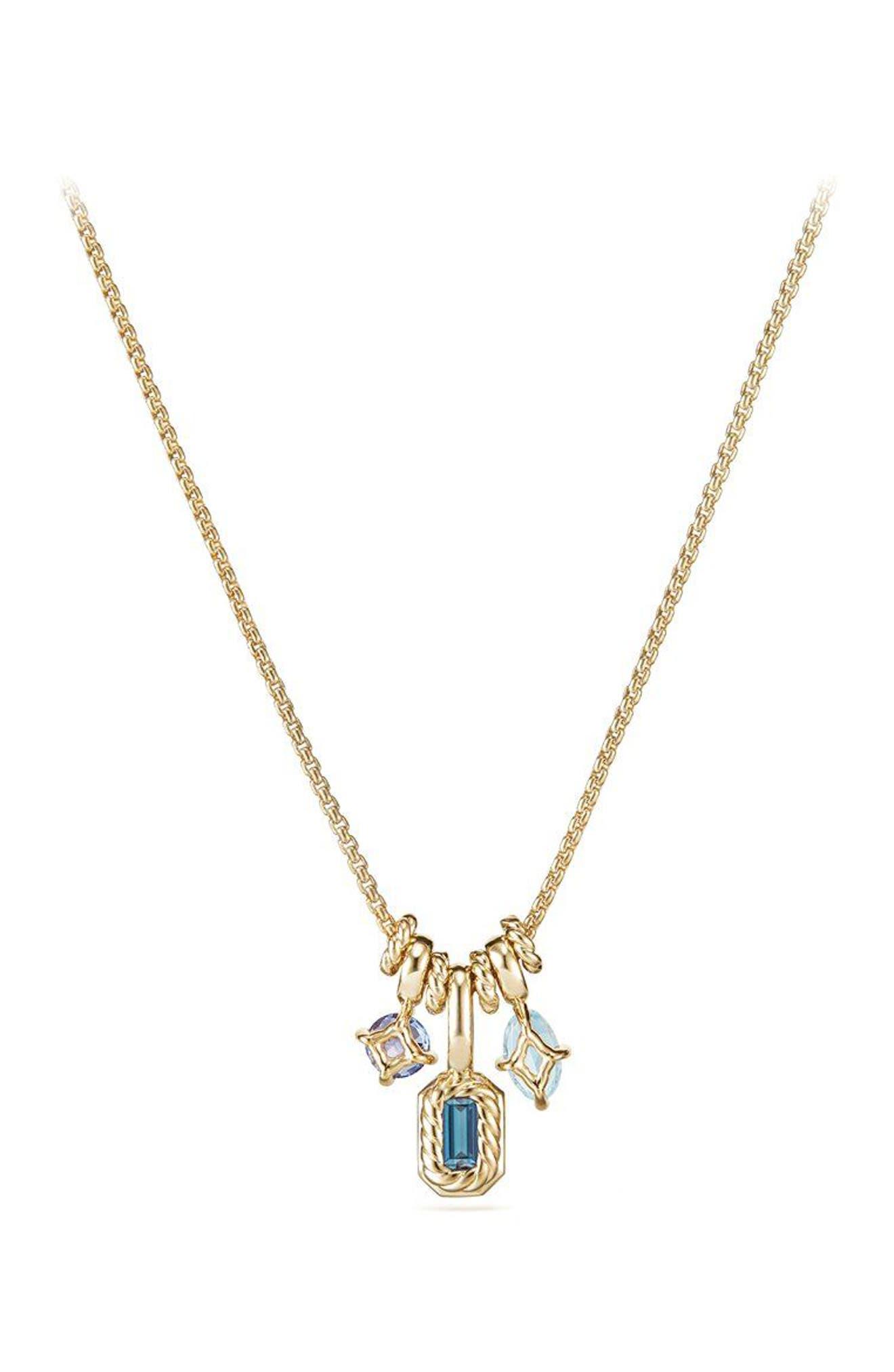 Novella Pendant Necklace in 18K Gold,                             Alternate thumbnail 3, color,                             GOLD/ BLUE TOPAZ/ AQUAMARINE