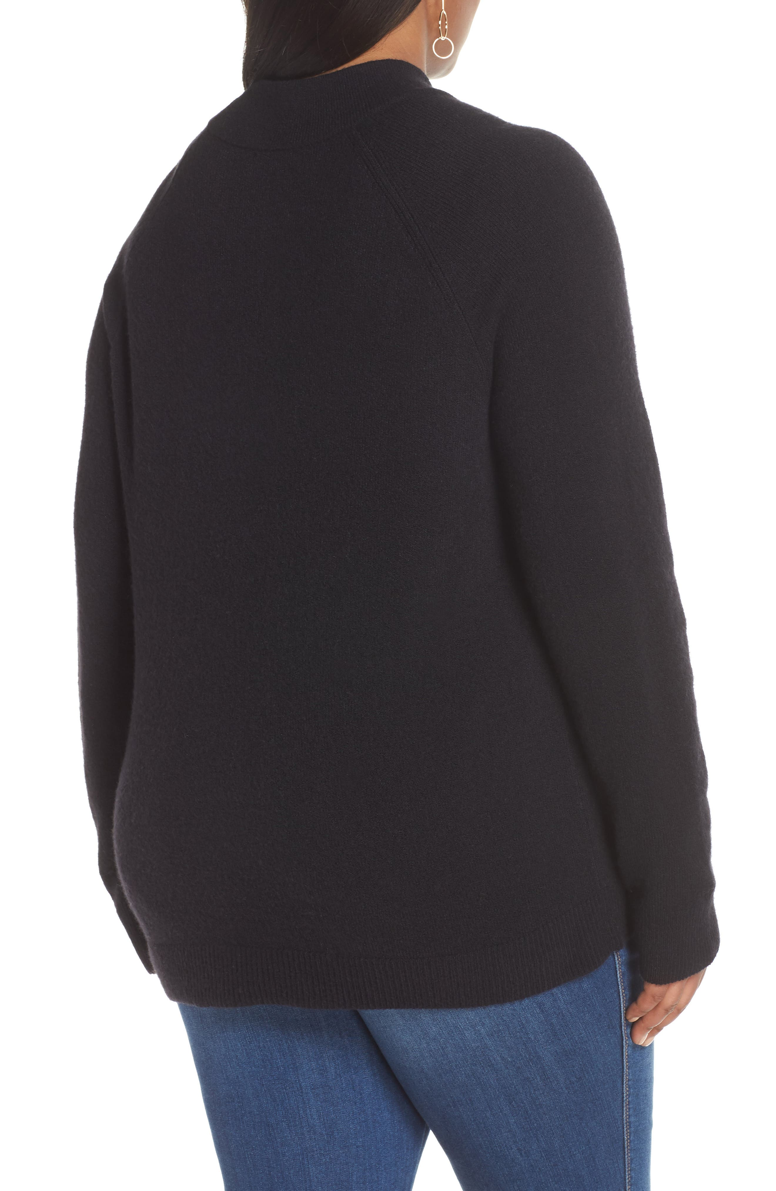Pocket Front Sweater,                             Alternate thumbnail 2, color,                             BLACK
