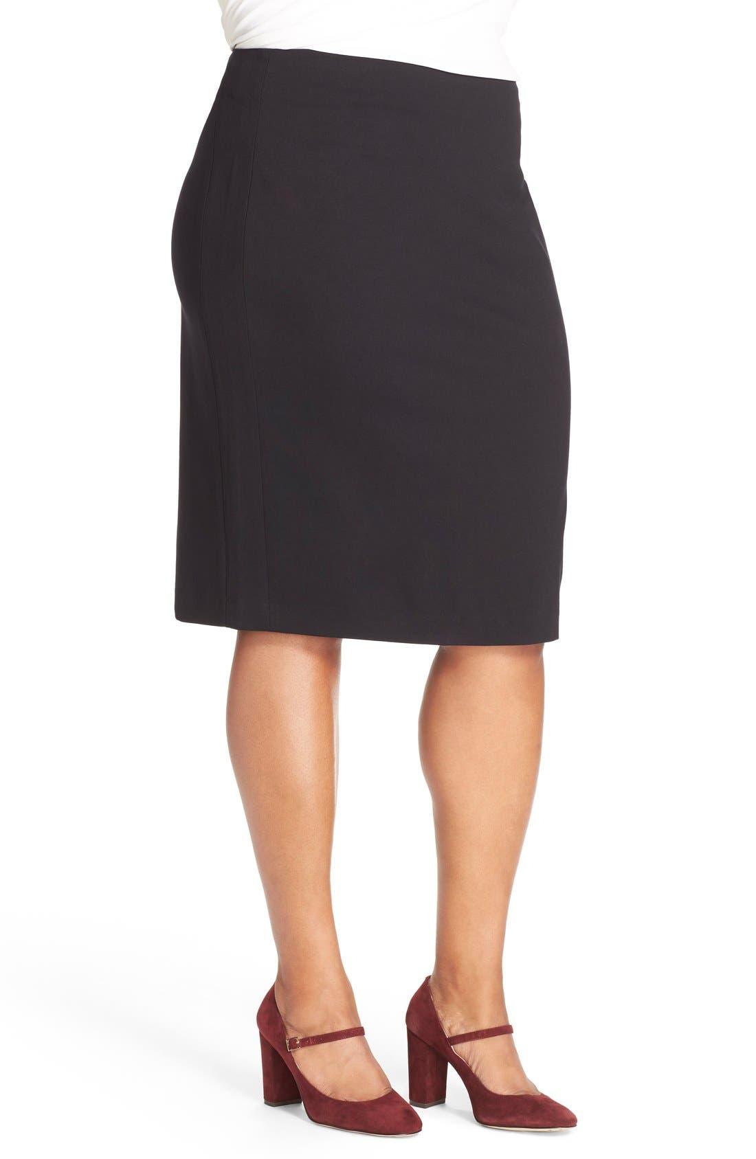 Ponte Knit Skirt,                             Alternate thumbnail 5, color,                             RICH BLACK