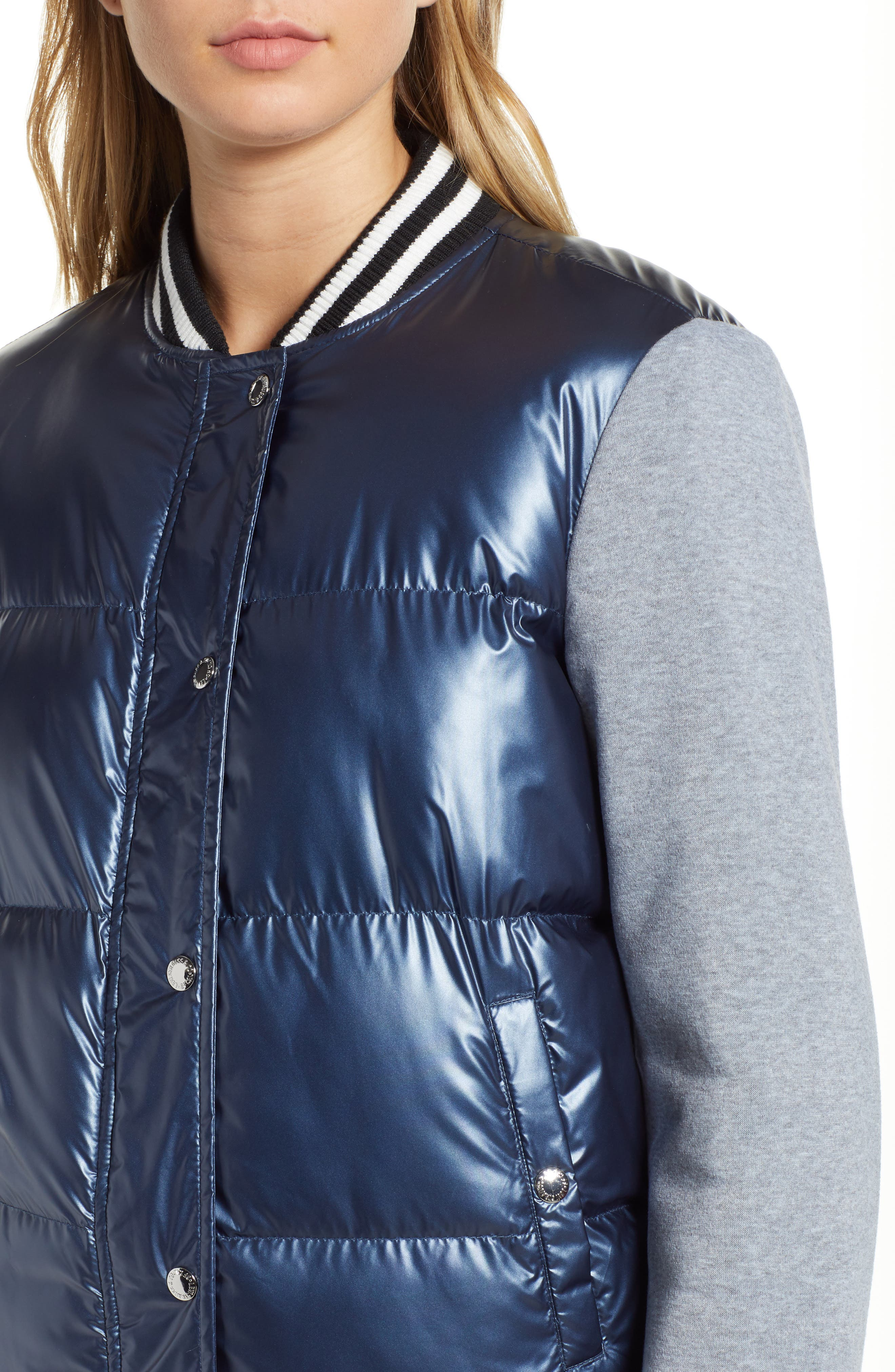 LEVIS<sup>®</sup> Mixed Media Quilted Varsity Jacket,                             Alternate thumbnail 4, color,                             NAVY/ GREY