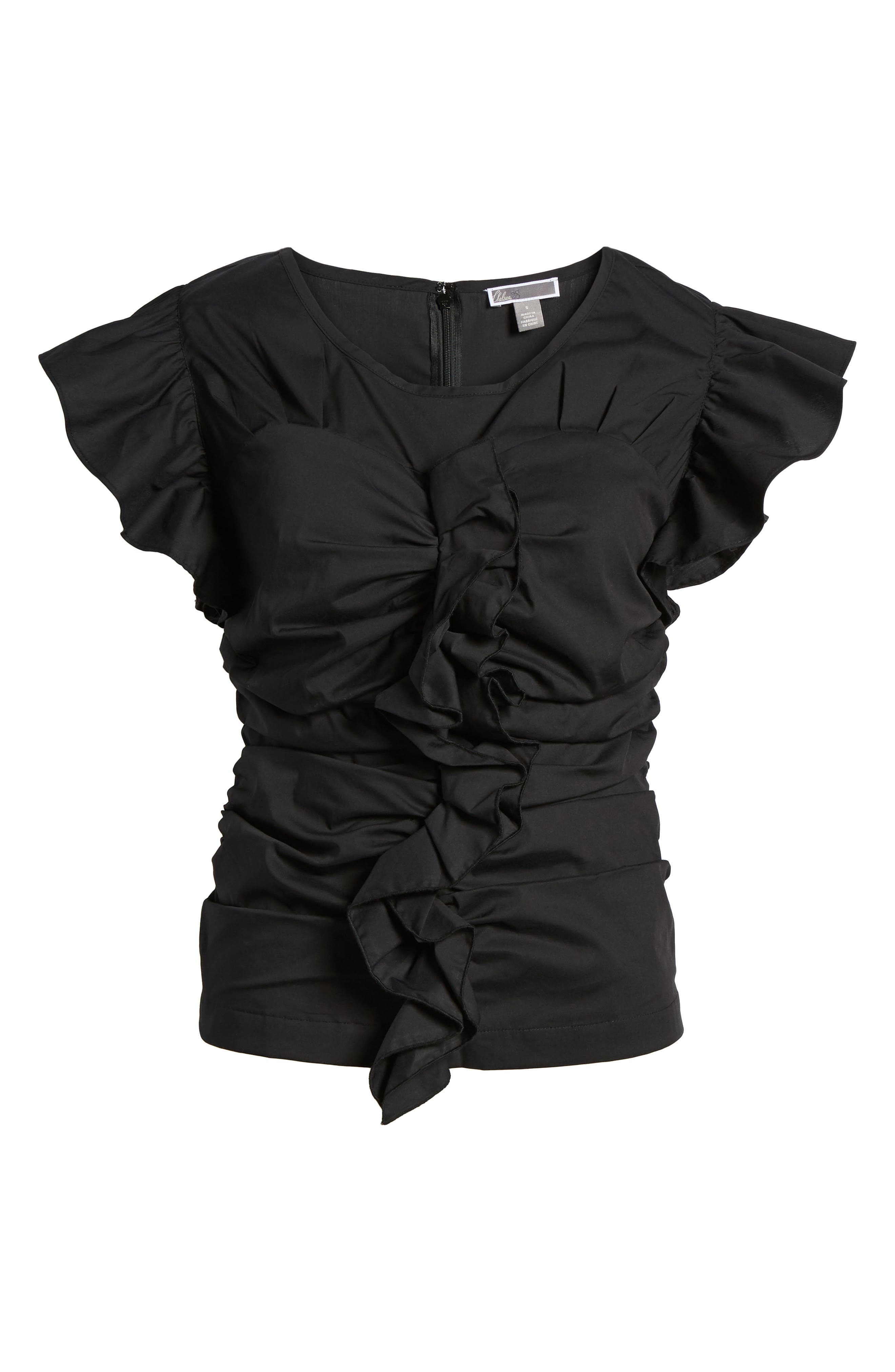 Ruched Poplin Top,                             Alternate thumbnail 7, color,                             001
