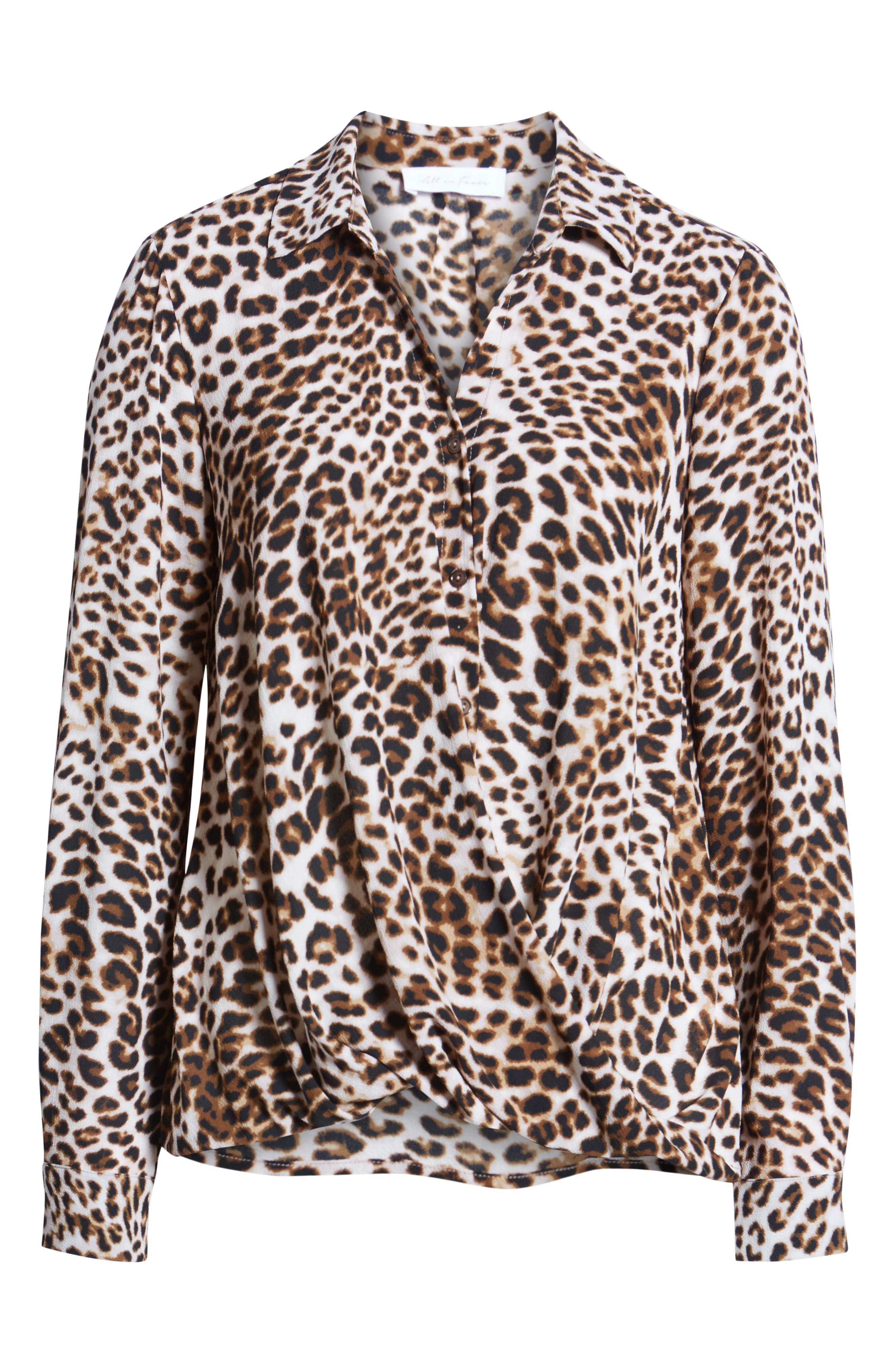 ALL IN FAVOR,                             Patterned Drape Front Blouse,                             Alternate thumbnail 6, color,                             LEOPARD PRINT