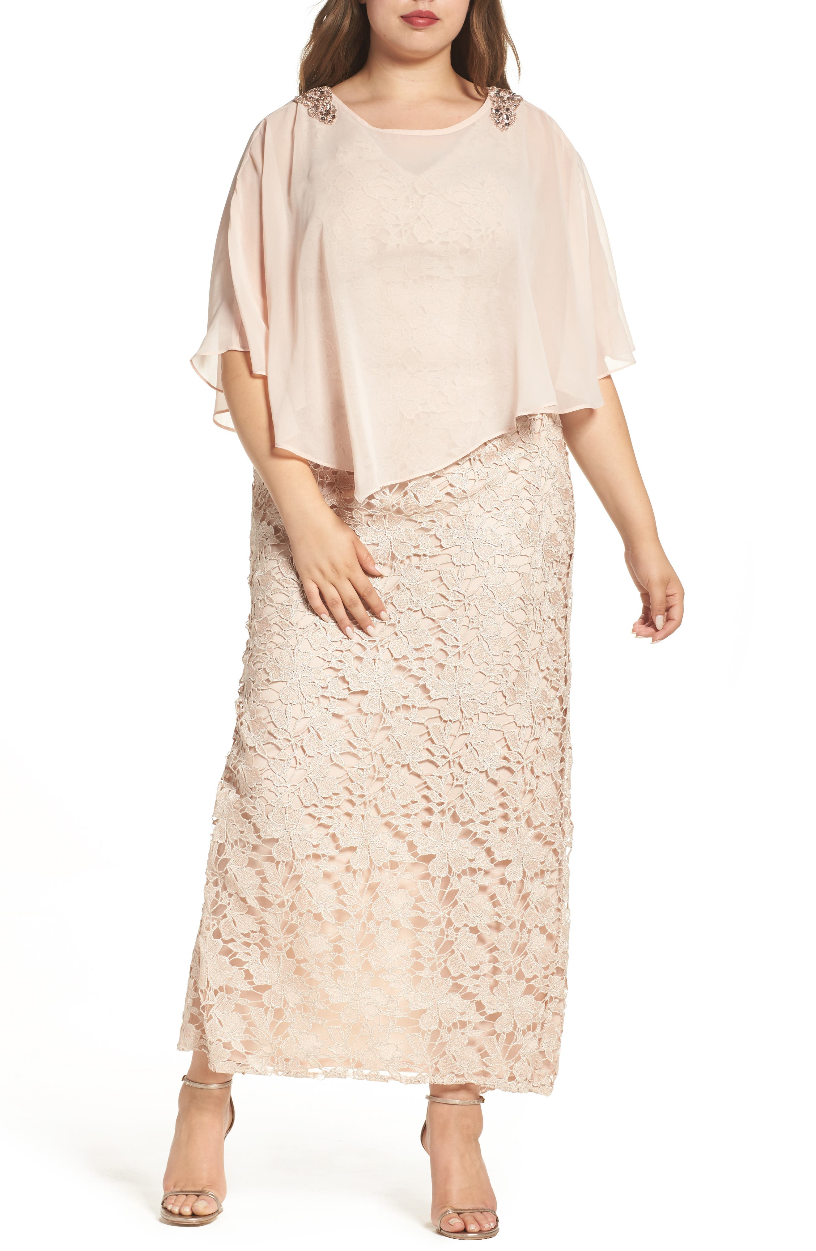 Poncho Over Floral Lace Dress,                             Main thumbnail 1, color,                             682