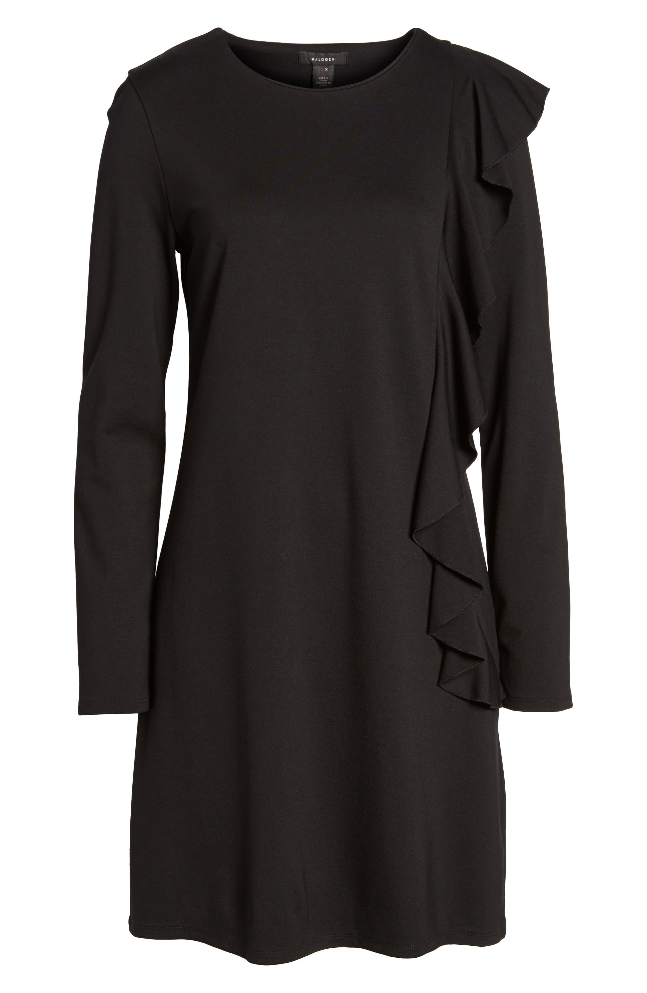 Halogen Ruffle Shift Dress,                             Alternate thumbnail 6, color,                             001