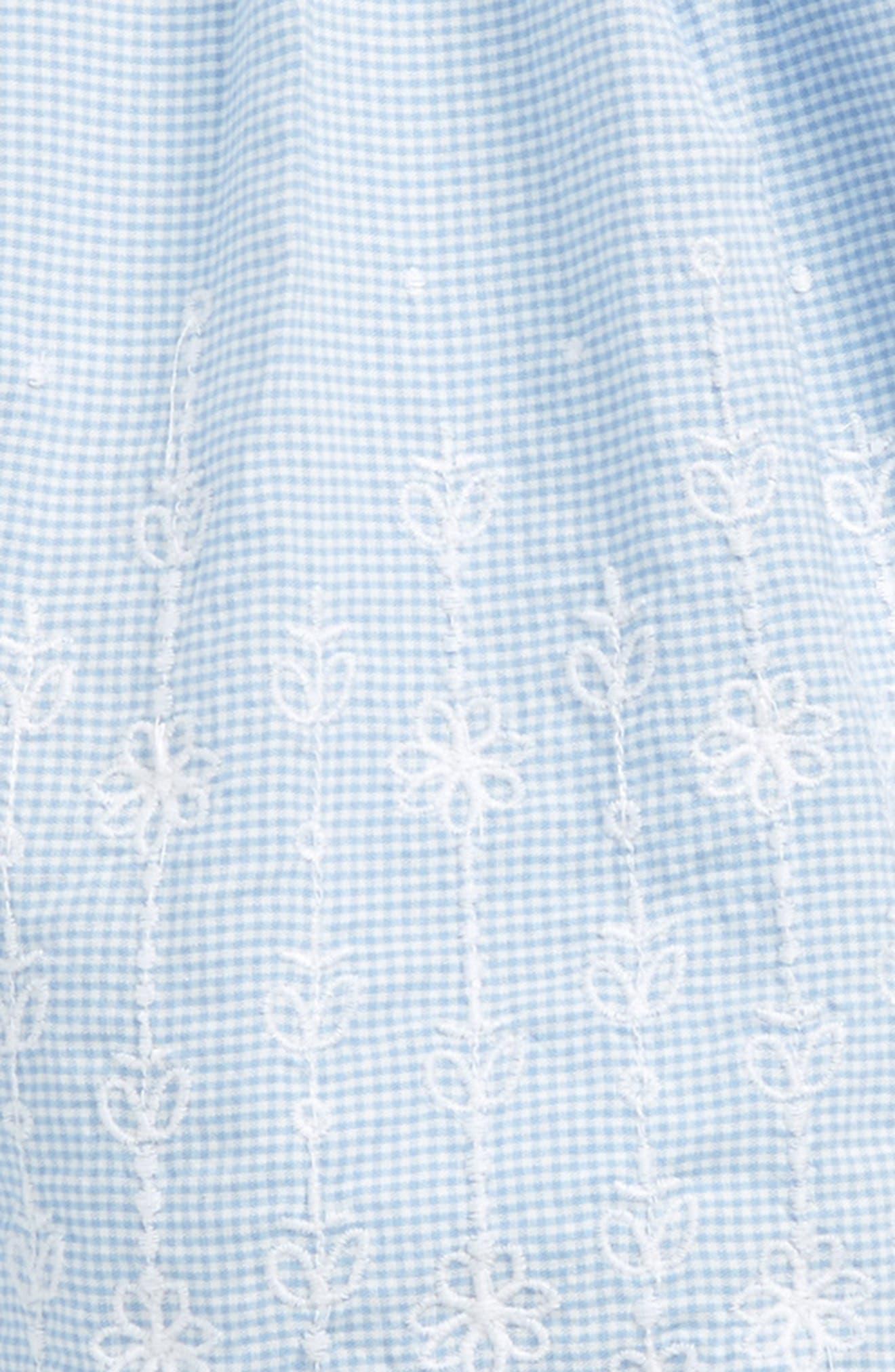 Embroidered Mini Check Dress,                             Alternate thumbnail 2, color,                             100