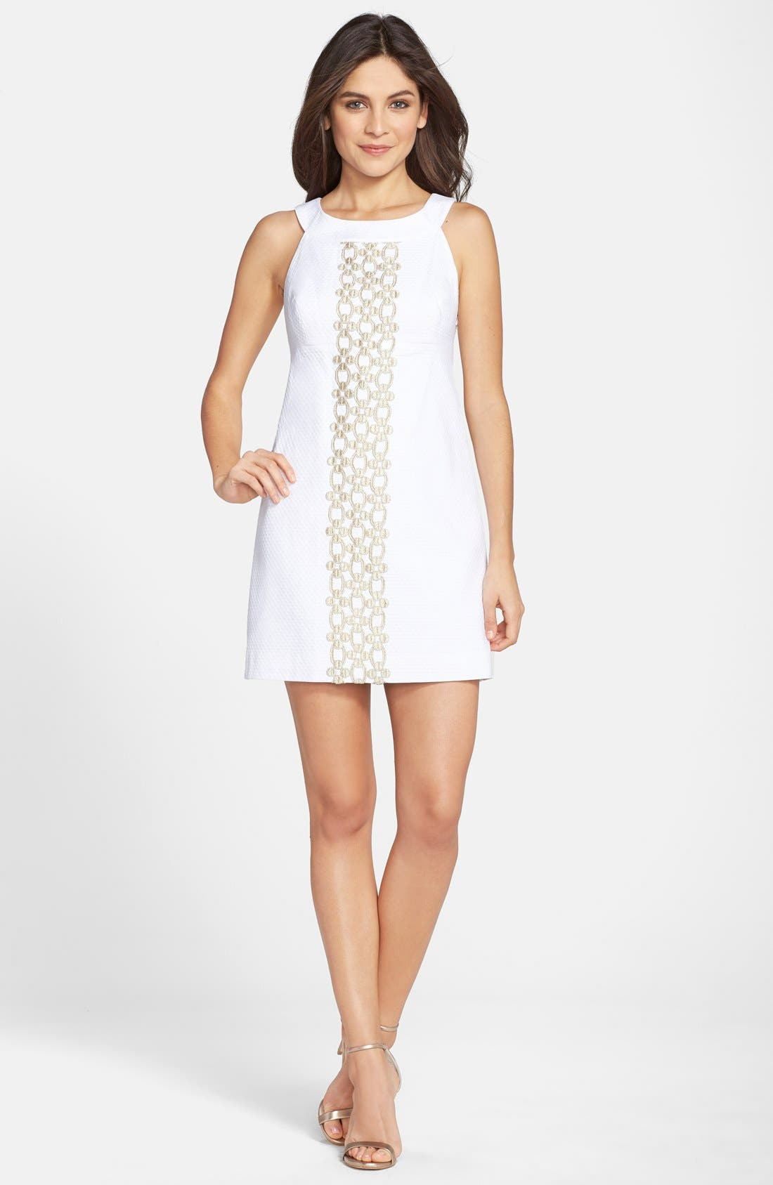 'Jacqueline' Embroidered Textured Cotton Shift Dress,                             Alternate thumbnail 4, color,                             115