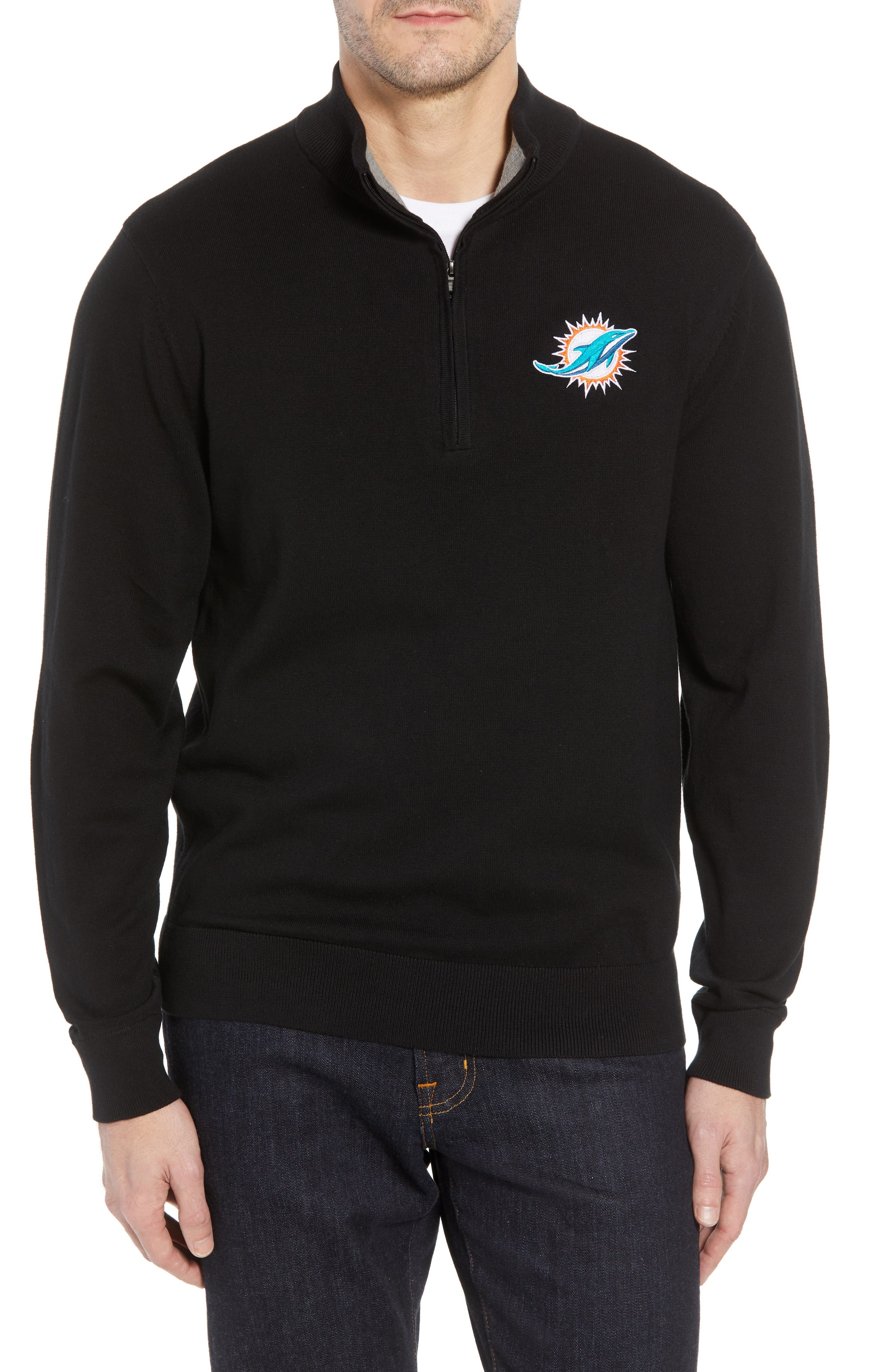Miami Dolphins - Lakemont Regular Fit Quarter Zip Sweater,                         Main,                         color, BLACK